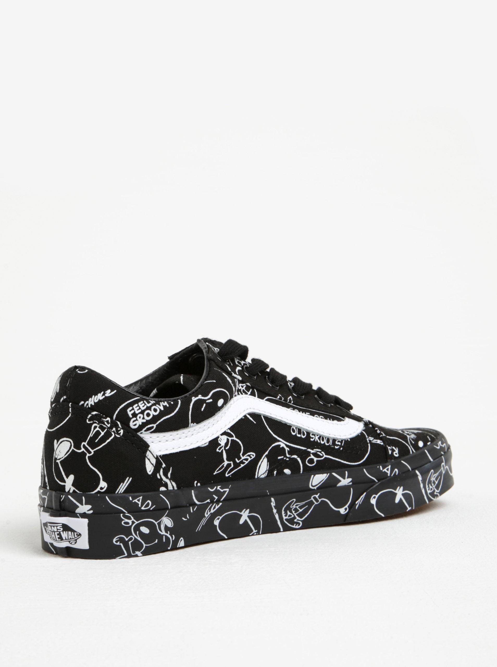 Čierne vzorované dámske tenisky Vans Peanuts ... 8f71dbec294