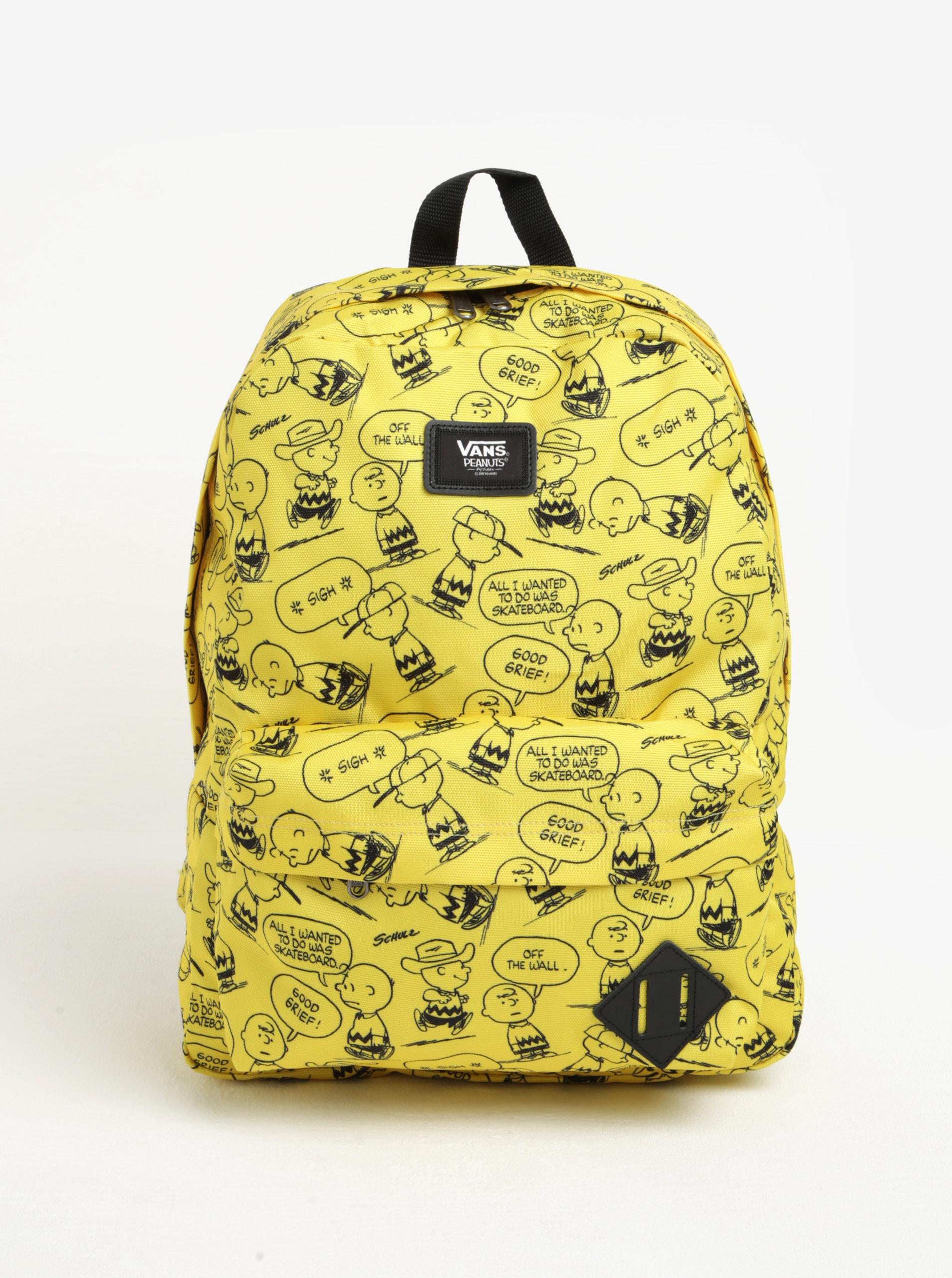 77762808123 Žlutý vzorovaný batoh VANS Peanuts ...