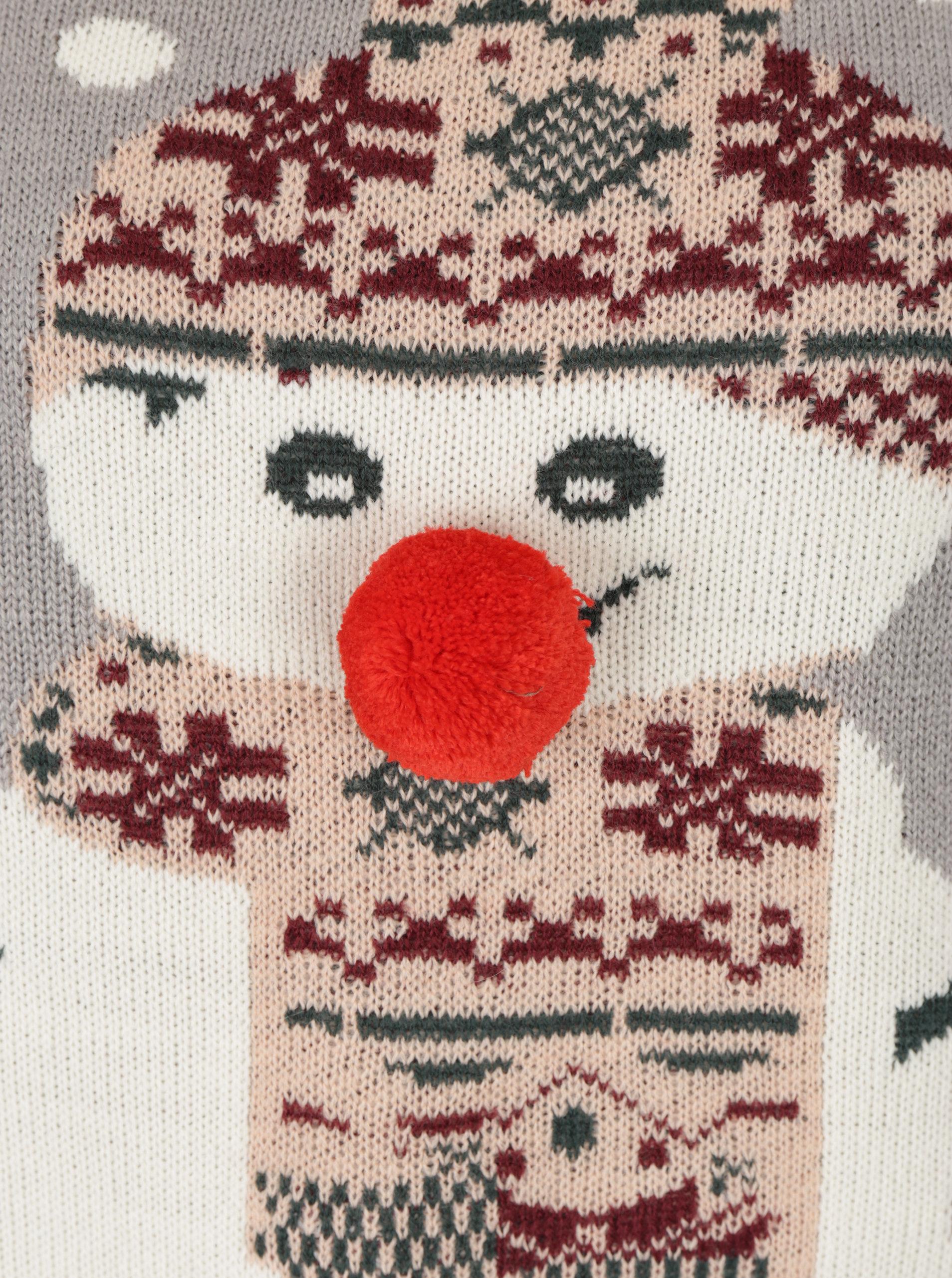 a3db52963fb2 Svetlosivý sveter s brmbolcom a motívom snehuliaka VERO MODA Snowie ...