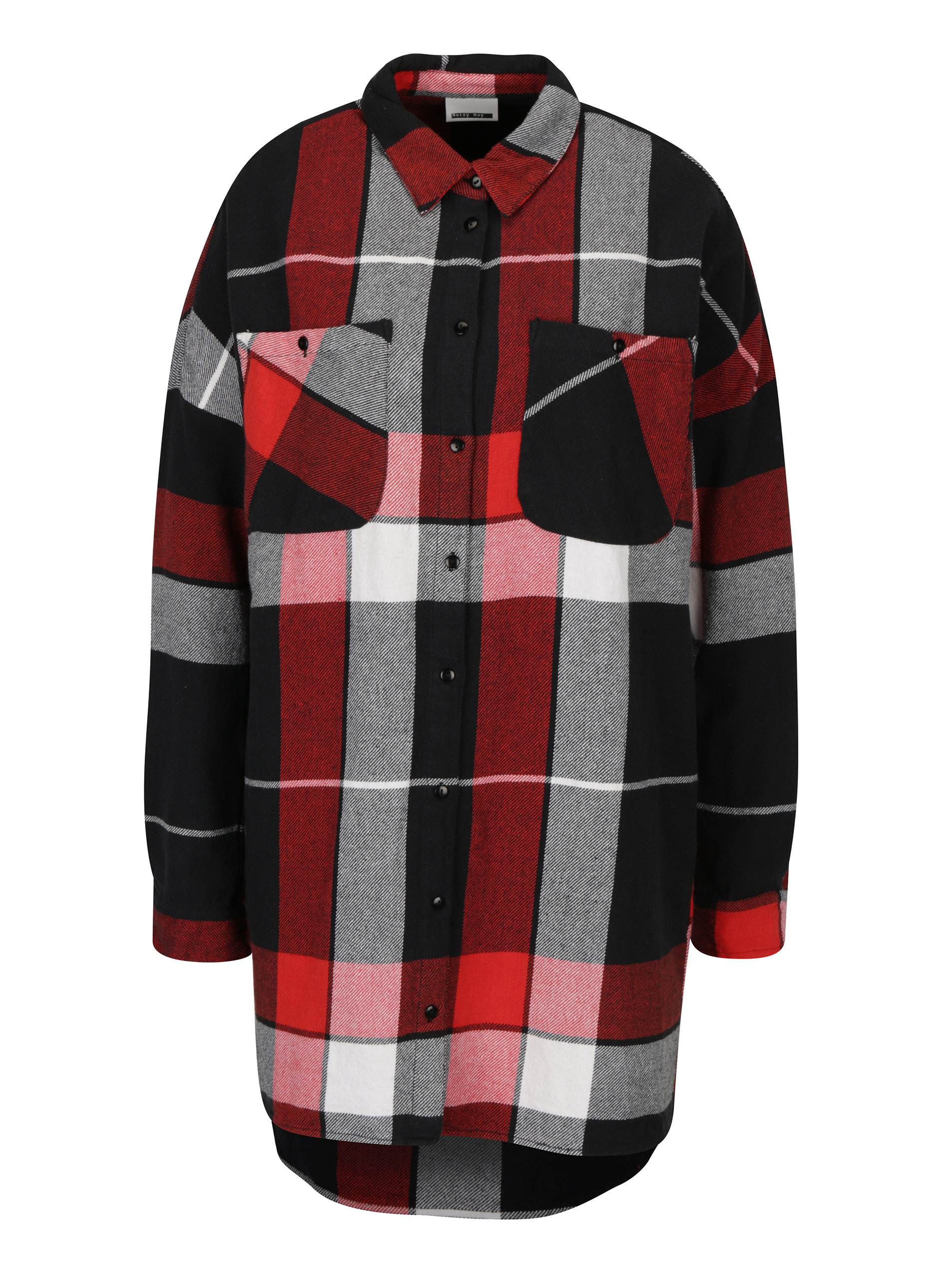 Červeno-černá dlouhá kostkovaná košile Noisy May Erik ... d0747a2337