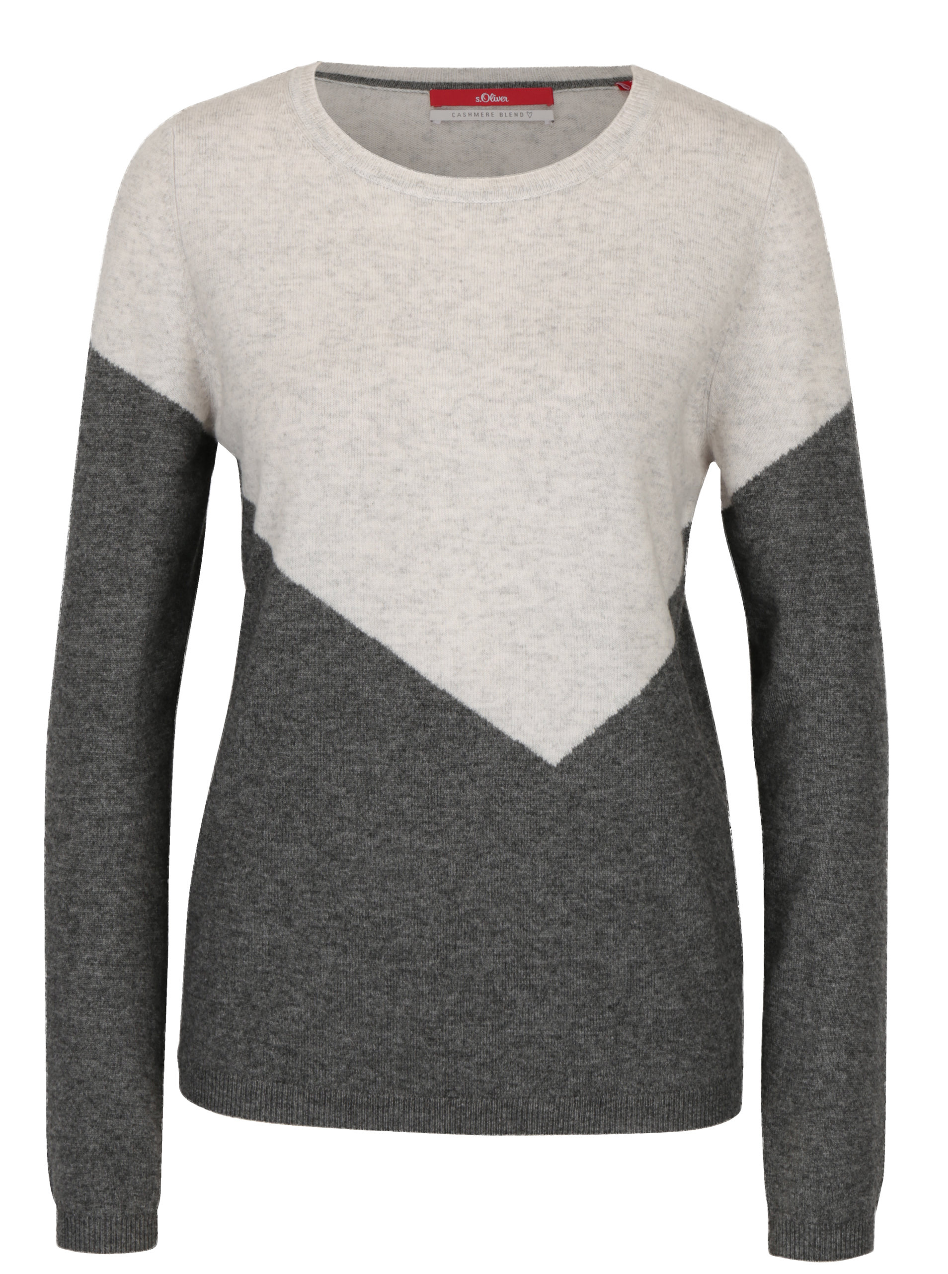863267a52178 Krémovo-sivý dámsky vlnený sveter s prímesou kašmíru s.Oliver