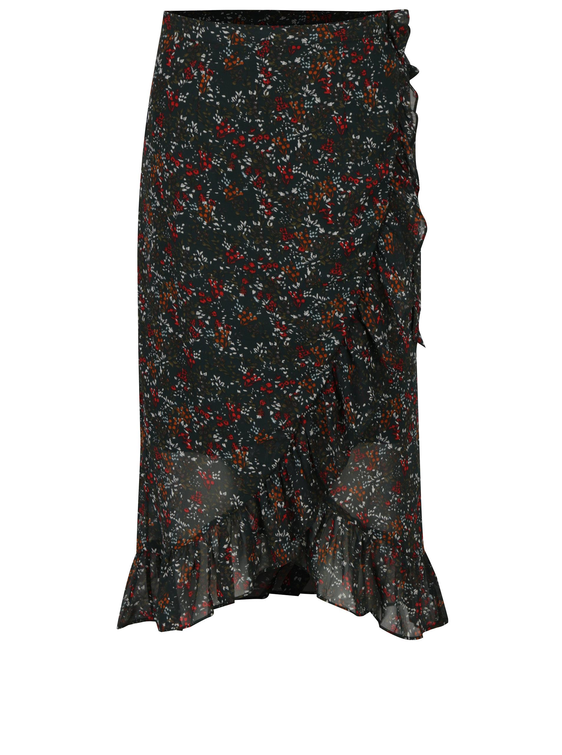 84fbd47c00b7 Zelená květovaná zavinovací sukně s volány VERO MODA Camille ...