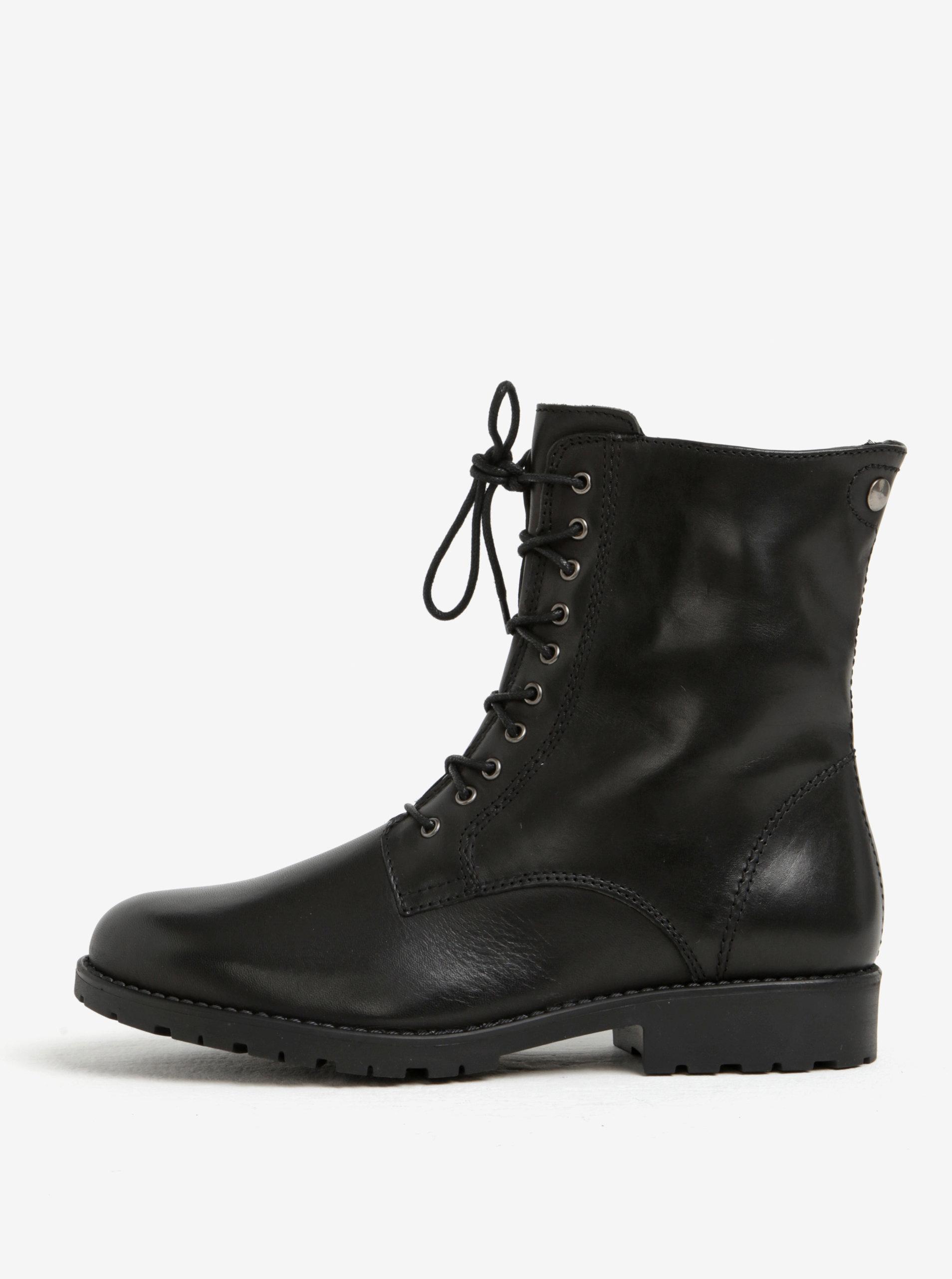 f05aba9756e9 Čierne kožené členkové topánky s vlnenou podšívkou Tamaris ...