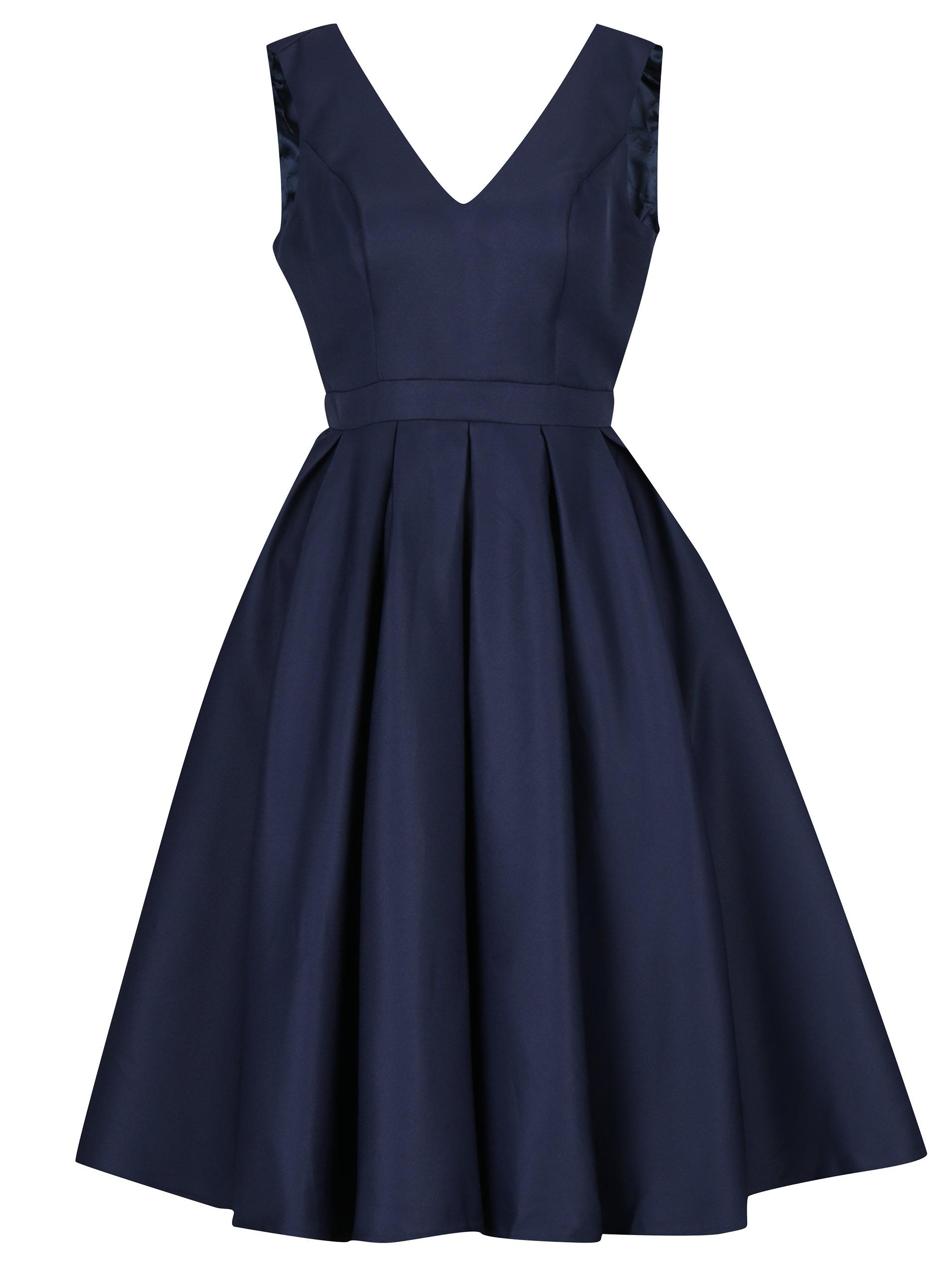 1beca95a92 Tmavomodré šaty s výstrihom na chrbte Chi Chi London Zara ...