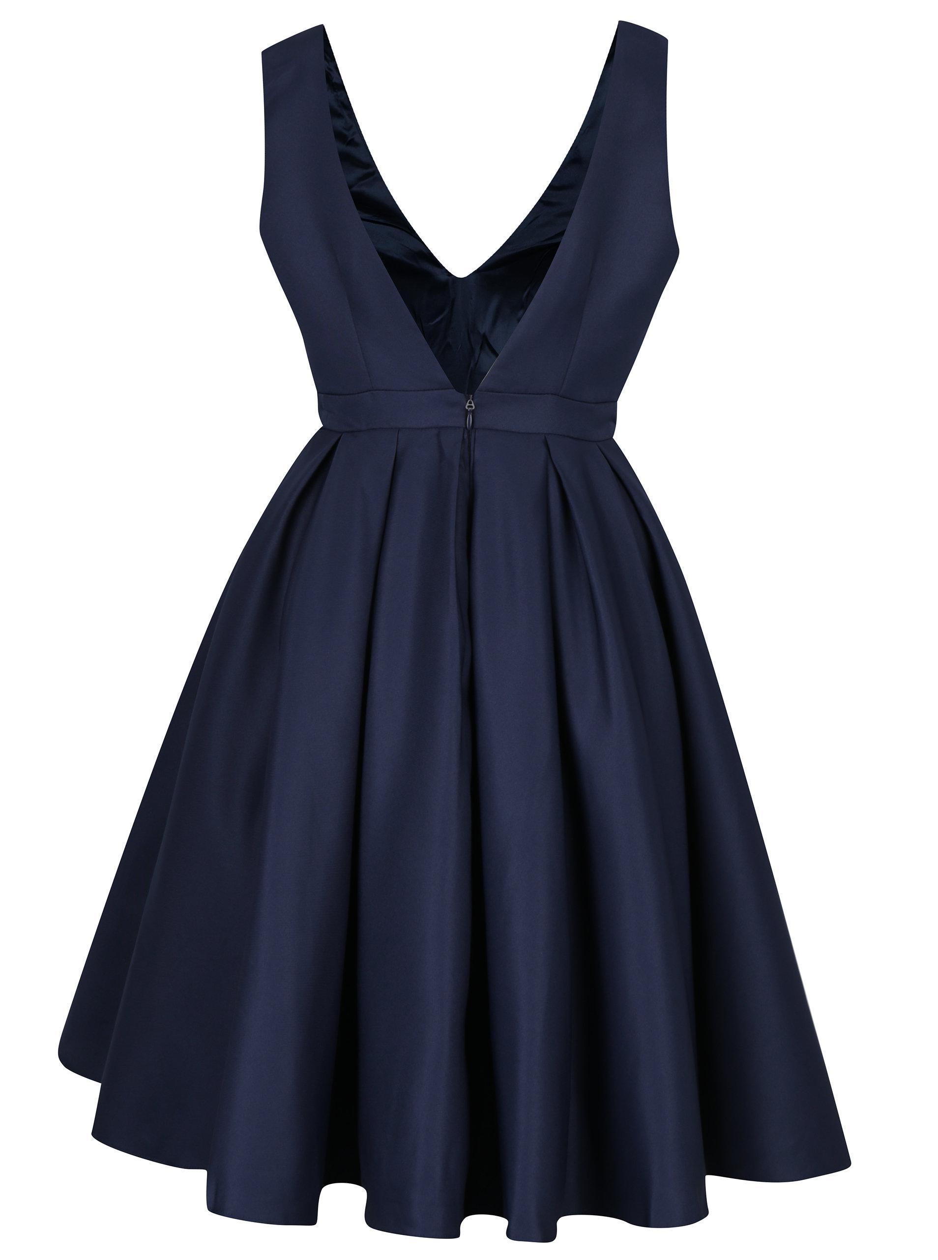 334c0111b2a9 Tmavomodré šaty s výstrihom na chrbte Chi Chi London Zara ...
