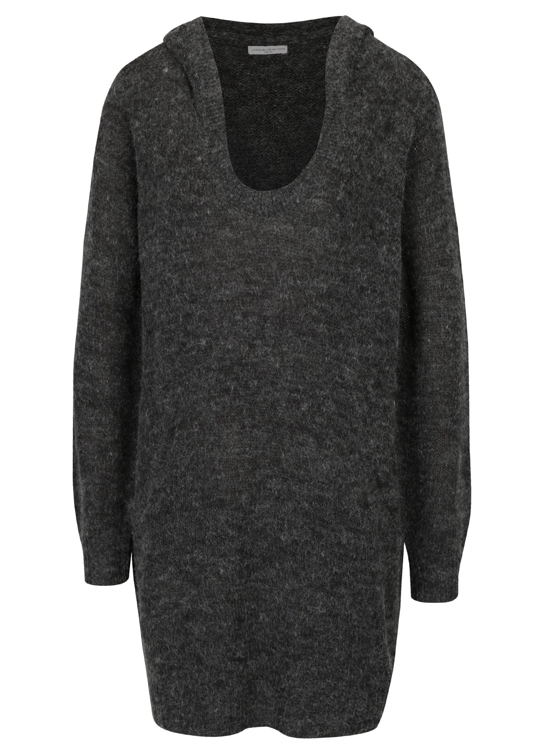 Tmavě šedý žíhaný dlouhý svetr s kapucí Jacqueline de Yong Aika ... 290413b965
