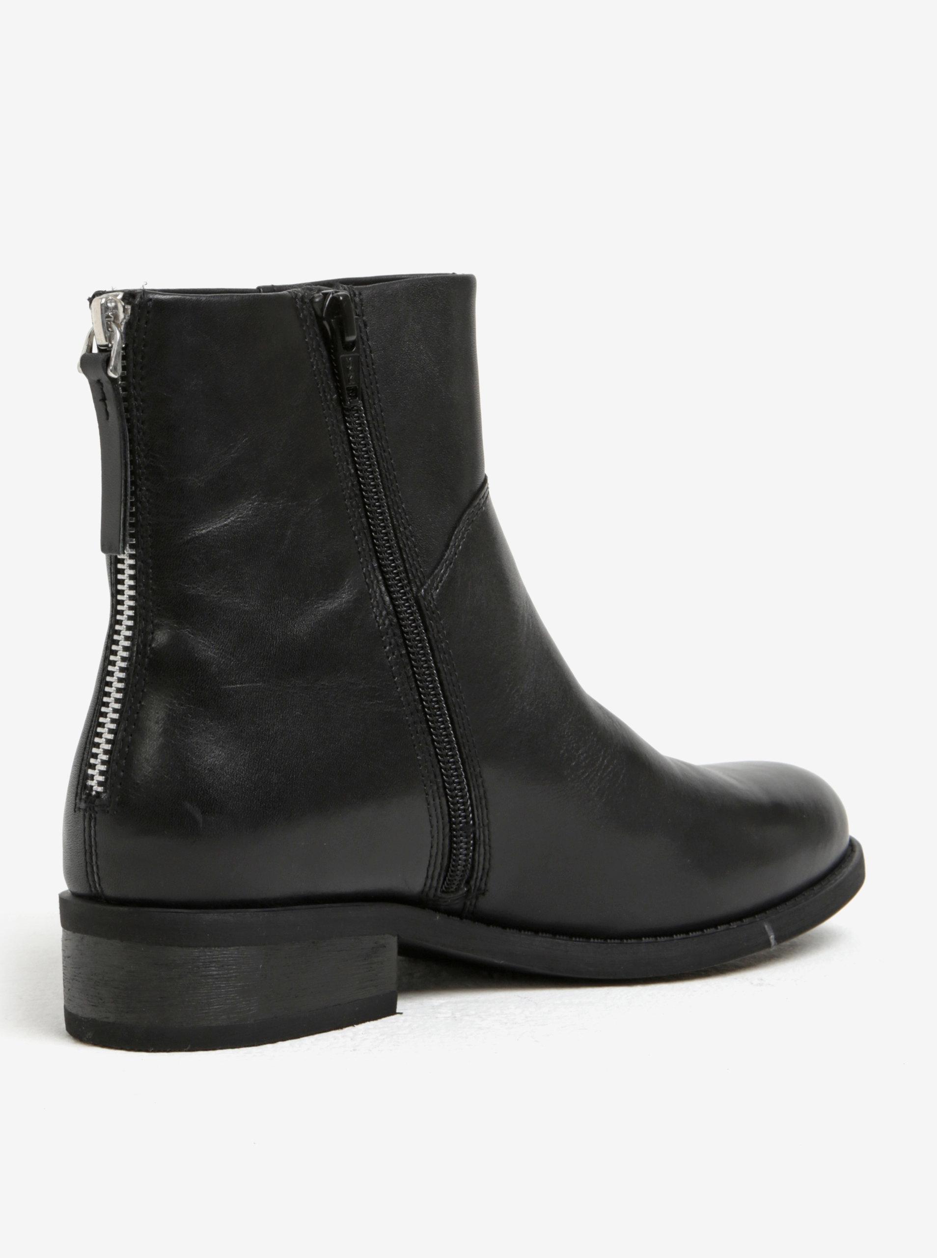 c2330e558e Čierne dámske kožené členkové topánky s umelým kožúškom Vagabond Cary ...
