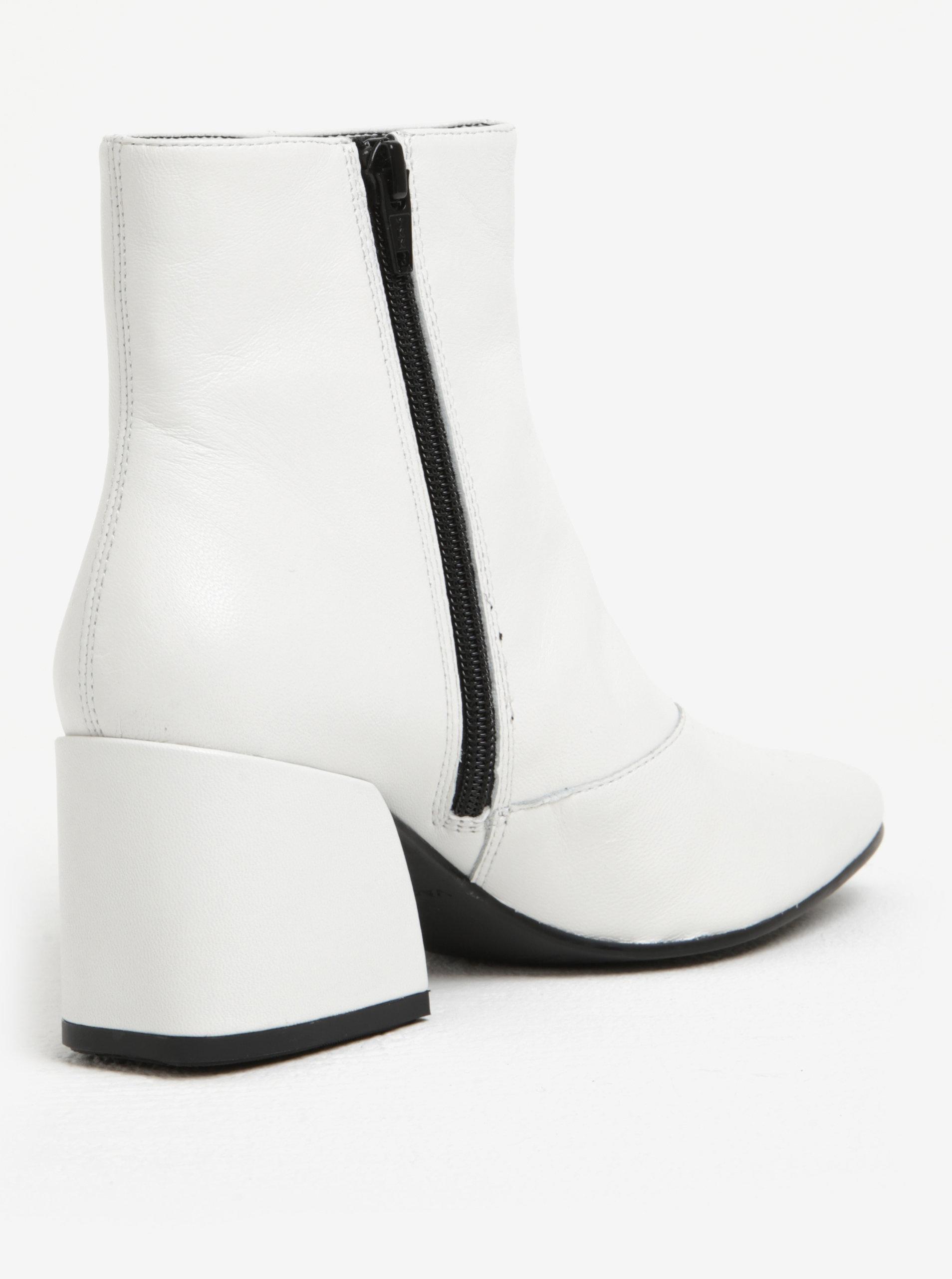 Bílé dámské kožené kotníkové boty na podpatku Vagabond Olivia ... 640ef57cdc