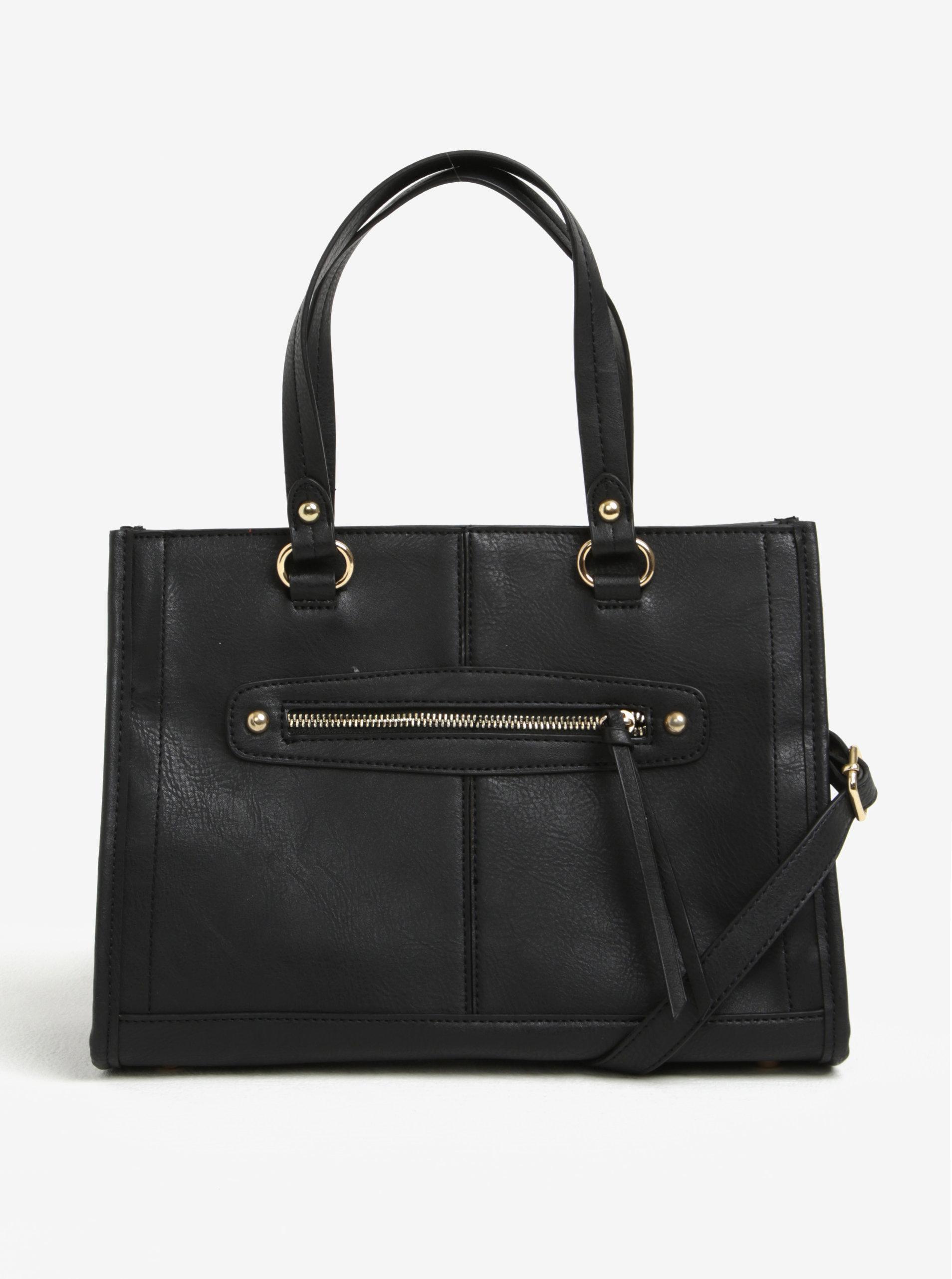 8f57b8f61d Čierna kabelka do ruky so zipsom v zlatej farbe Dorothy Perkins ...