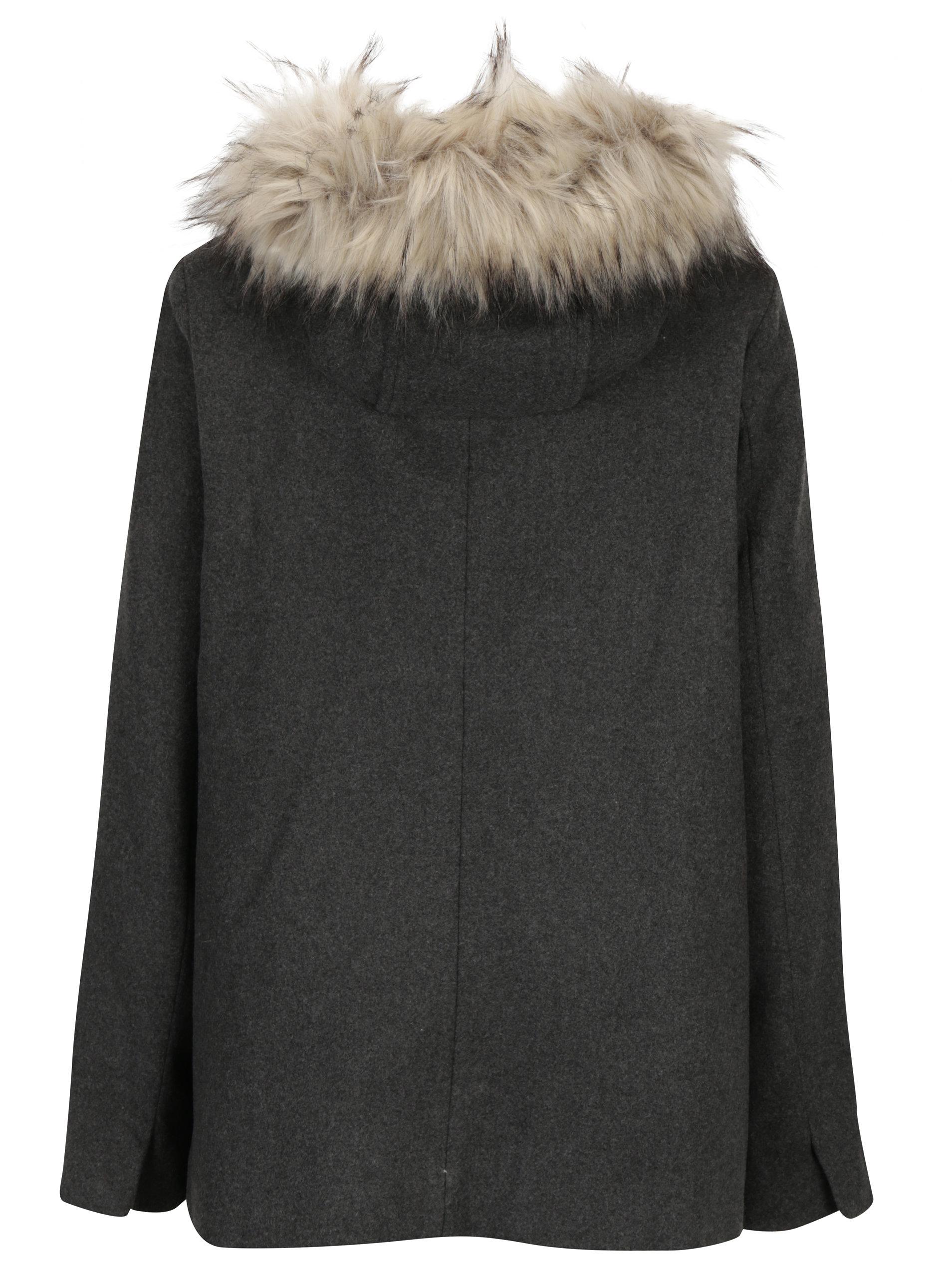 Tmavosivý dámsky krátky kabát s prímesou vlny Broadway Noomie ... c5f4545f73a