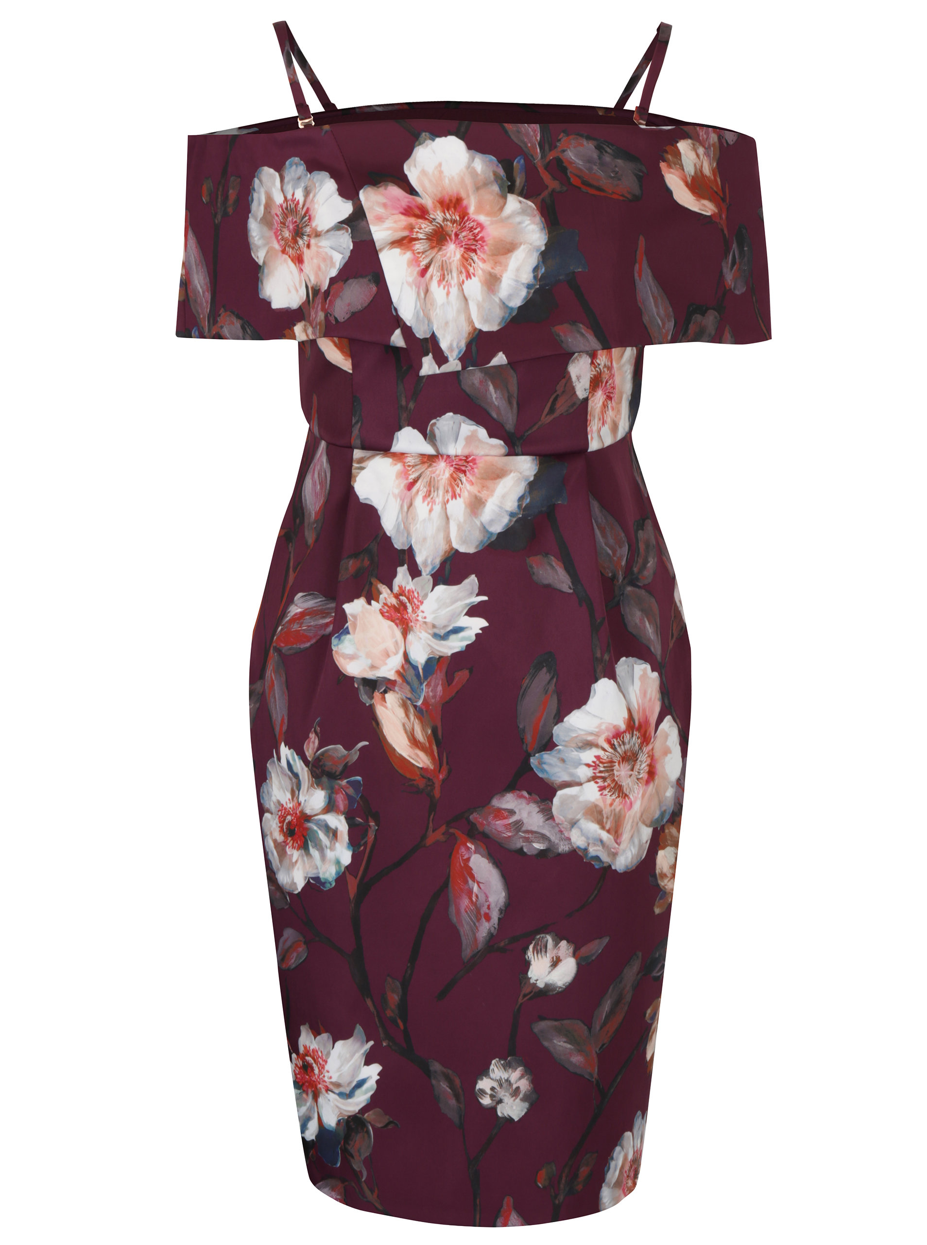 2c76a57bc88f Vínové kvetované šaty s odhalenými ramenami Dorothy Perkins Petite ...