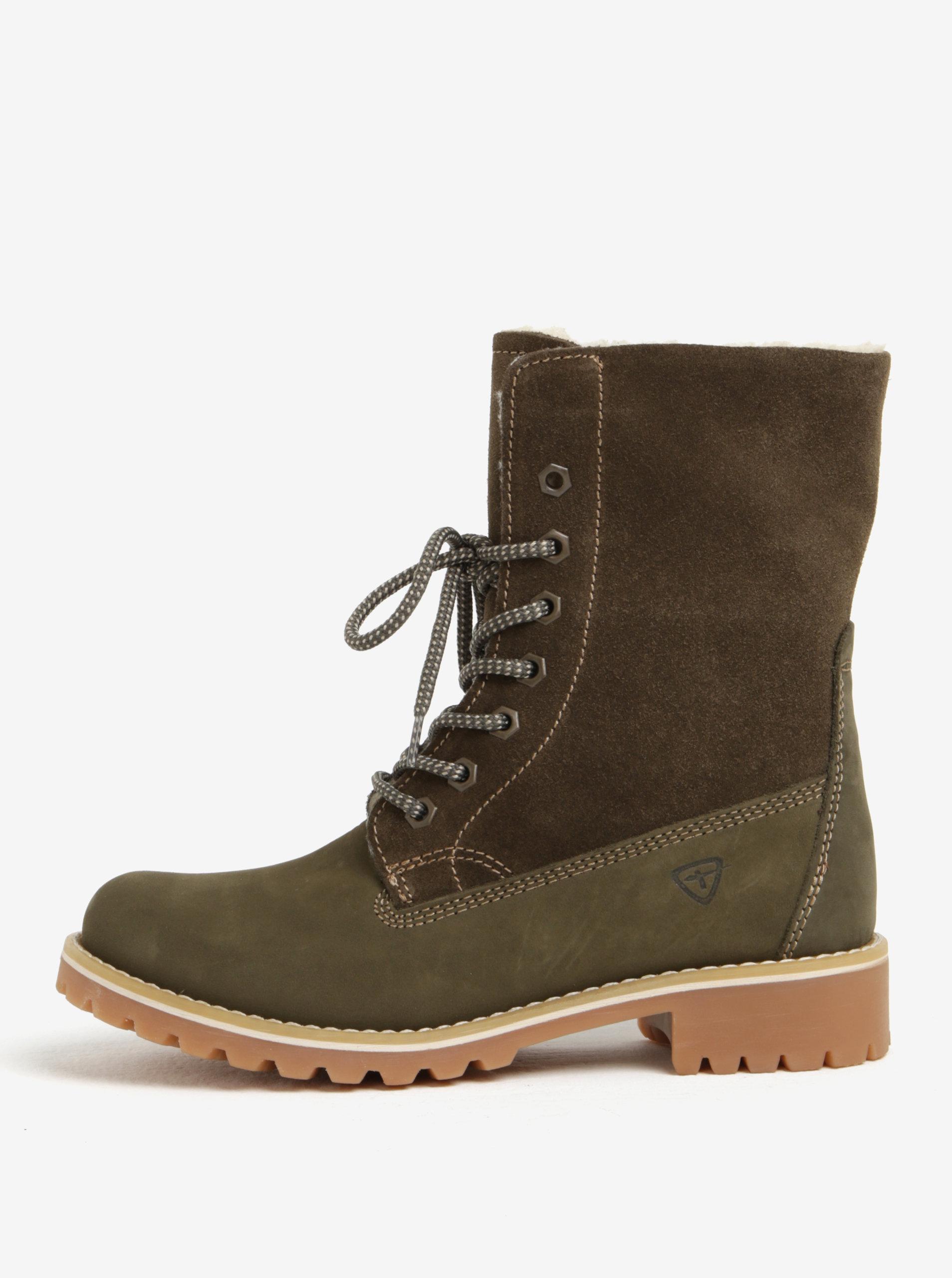 0b192902fcb4 Zelené semišové vodovzdorné zimné topánky Tamaris ...