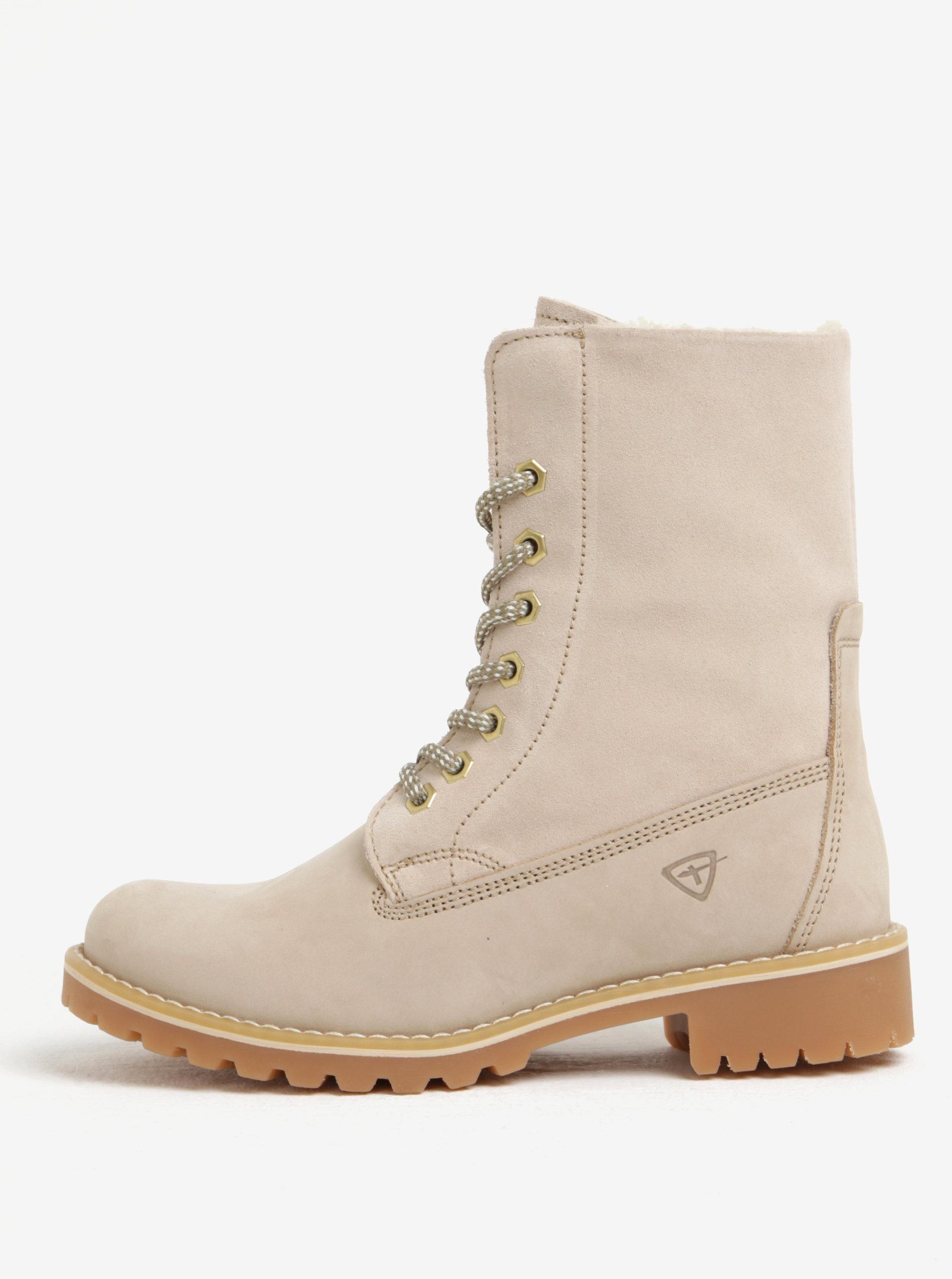 Béžové semišové vodovzdorné zimné topánky Tamaris ... 09b0a6a36b9