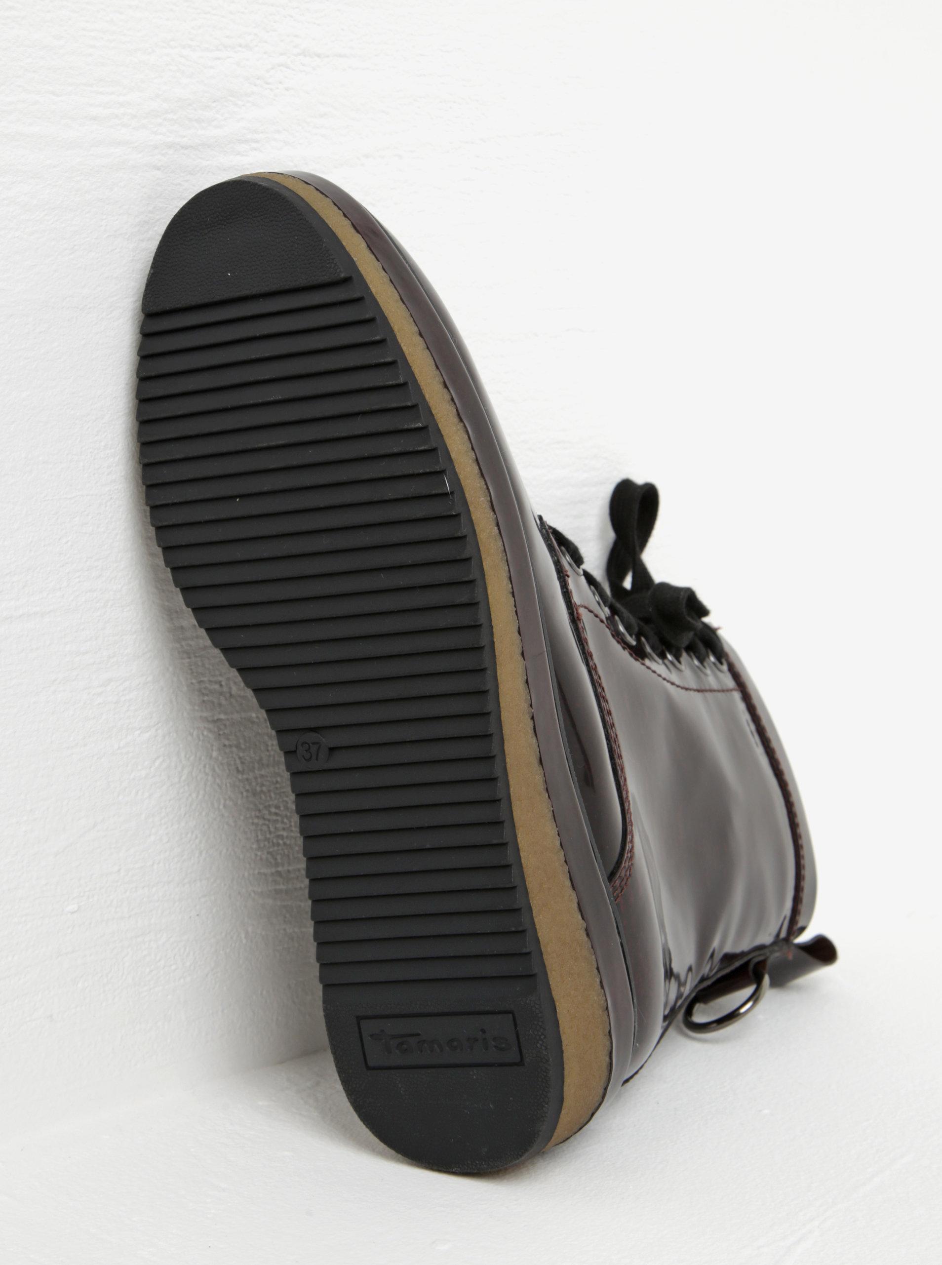 a9a16cea0b32 Vínové lesklé členkové topánky na platforme Tamaris ...