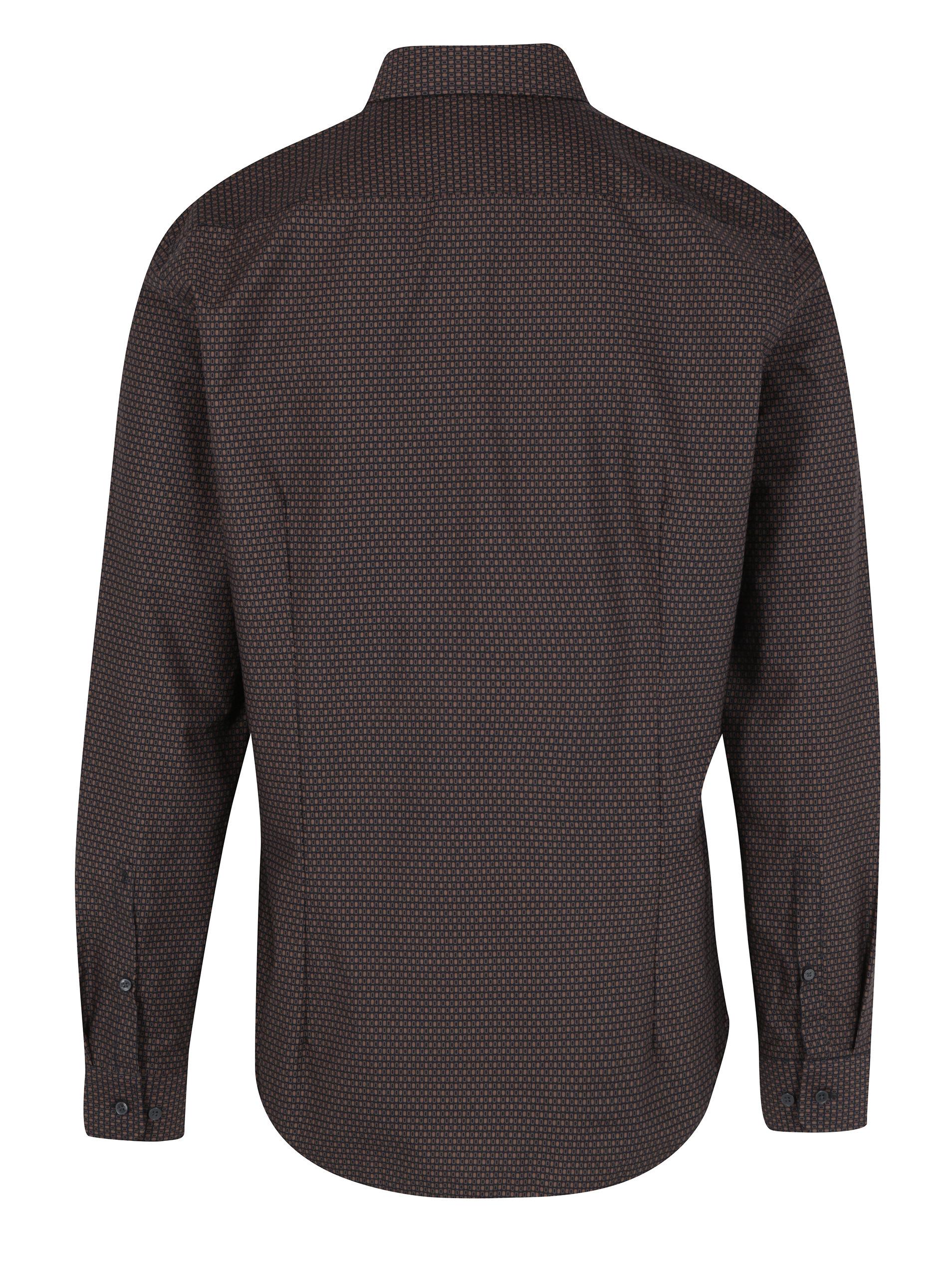 fa1b575782db Tmavohnedá slim fit vzorovaná košeľa Seidensticker ...