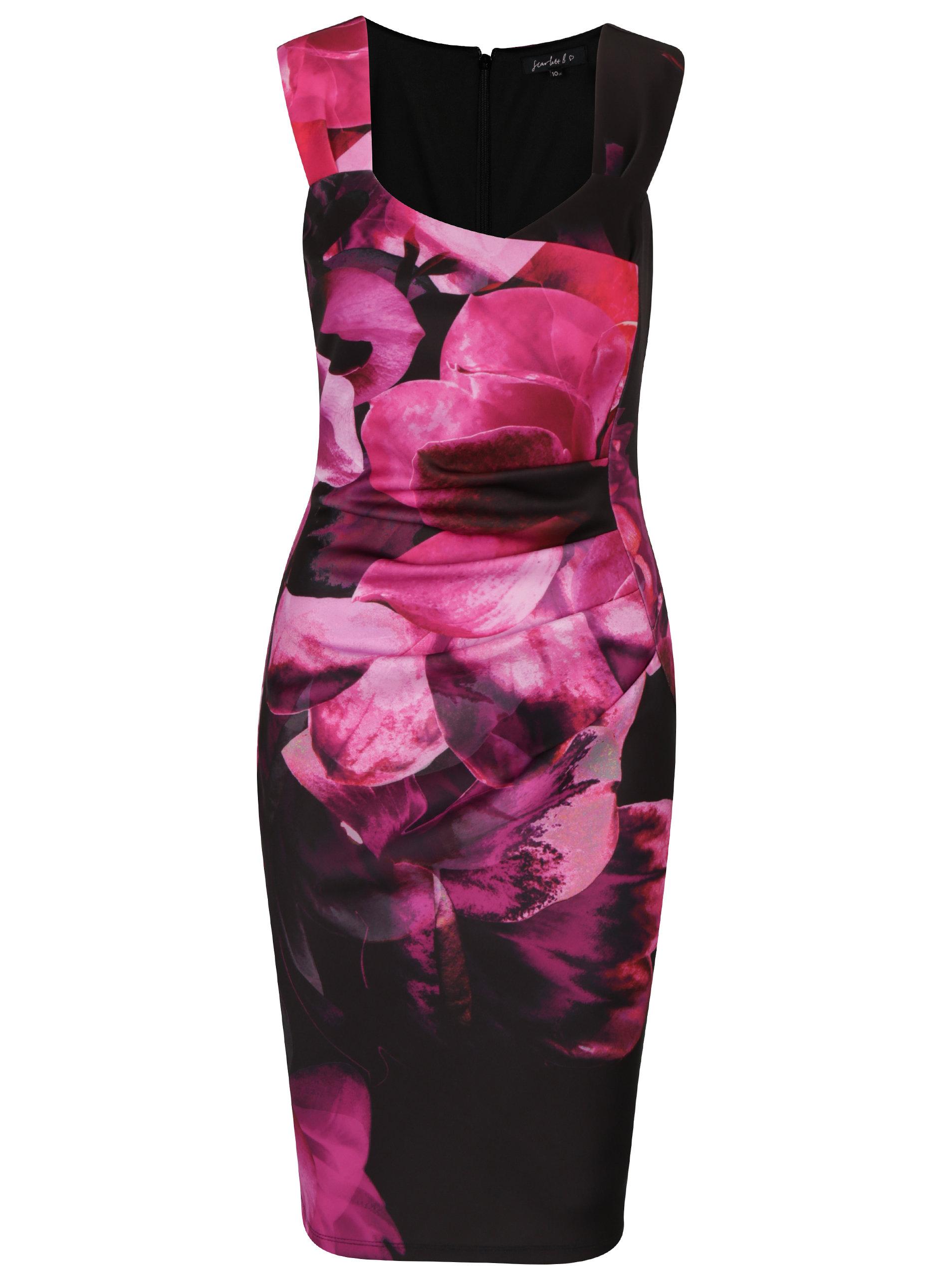Ružovo-čierne kvetované puzdrové šaty Scarlett B ... 11a13712af9