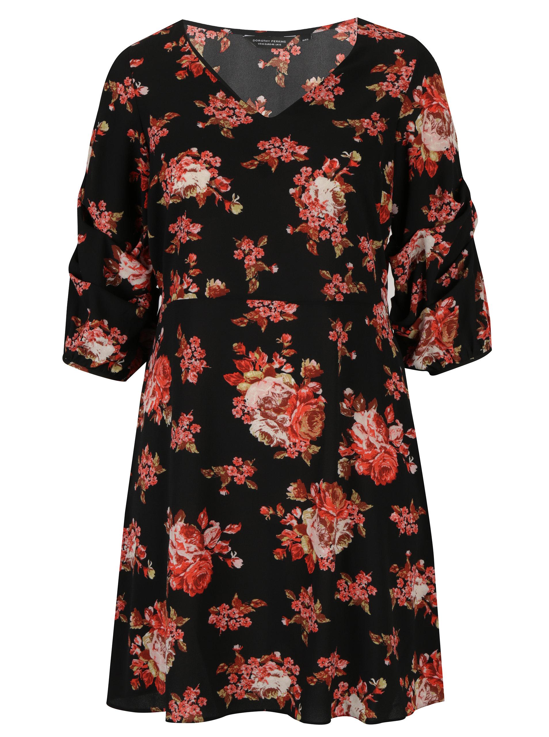 0cf33962de29 Červeno-čierne kvetované šaty so zberkaním Dorothy Perkins Curve ...