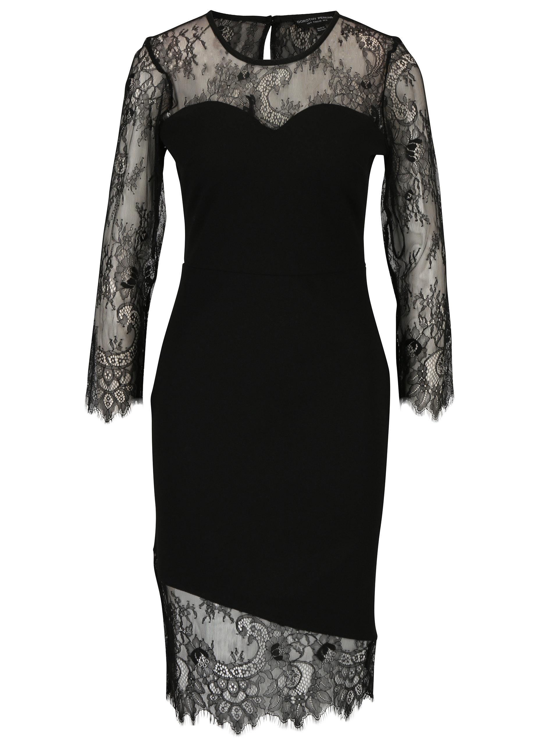8b407bf0dce4 Černé pouzdrové šaty s krajkou Dorothy Perkins ...
