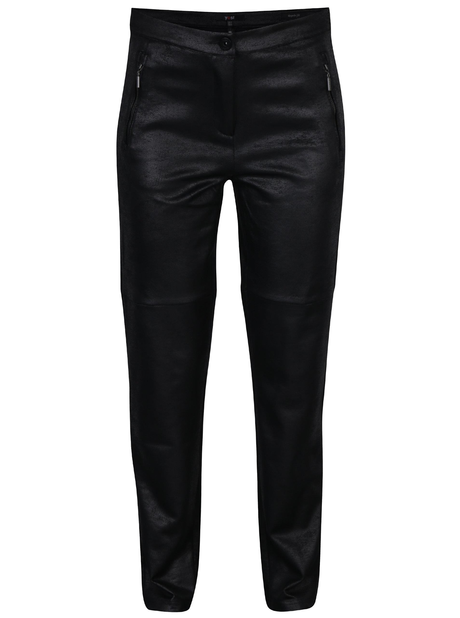 694878ec47 Čierne regular fit nohavice so vzhľadom brúsenej kože Yest ...