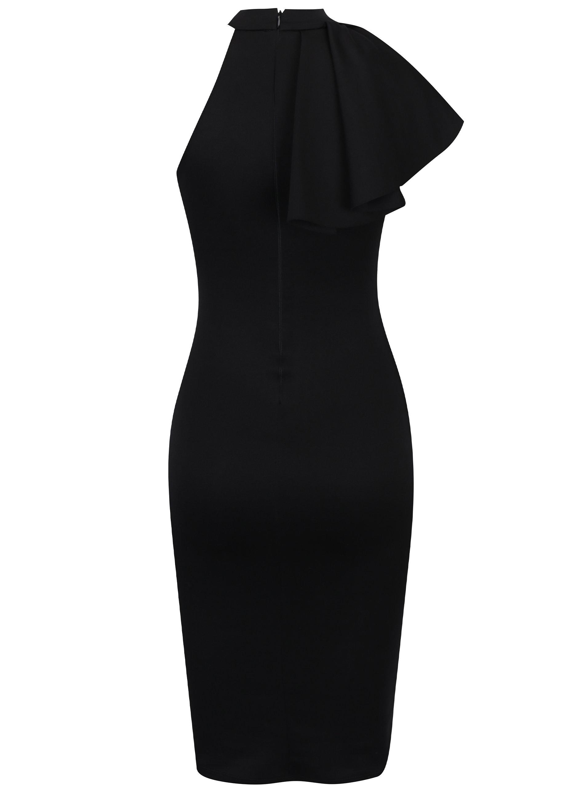 Černé pouzdrové šaty s volánem ZOOT ... 74f9673742
