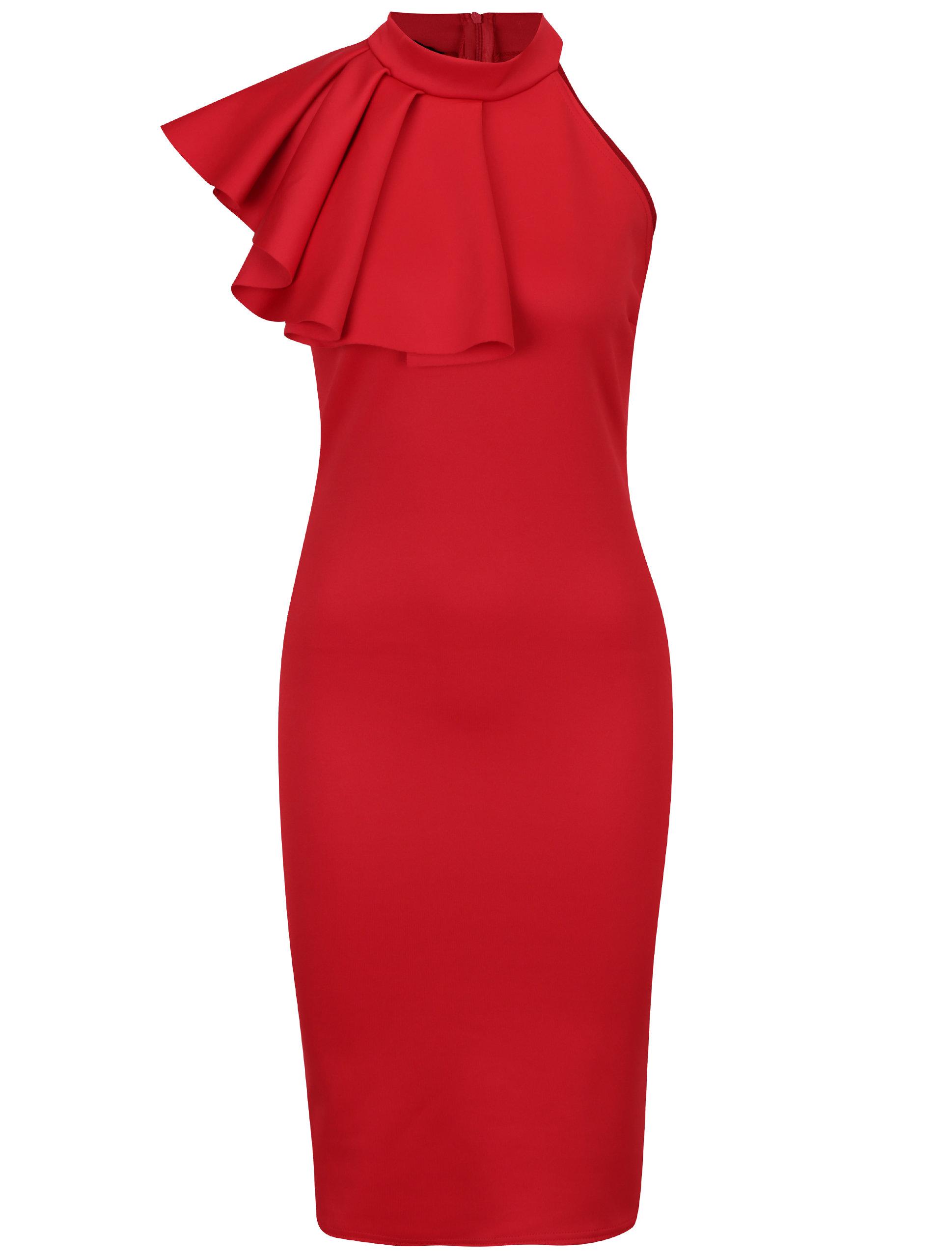 Červené puzdrové šaty s volánom ZOOT ... e6a064ad0de