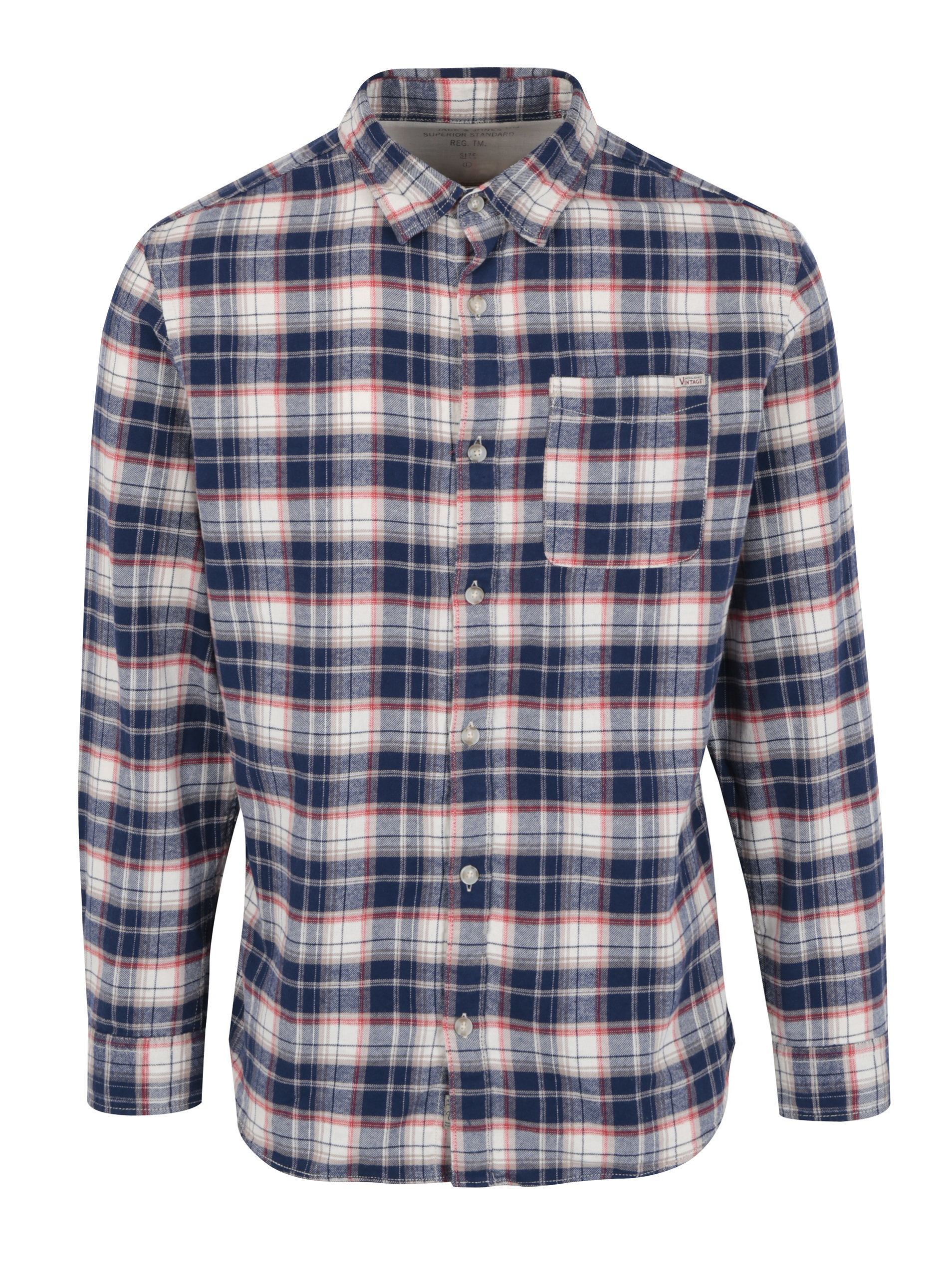 cfa5269eb286 Modro-béžová károvaná slim fit košeľa Jack   Jones Vintage Midleton ...