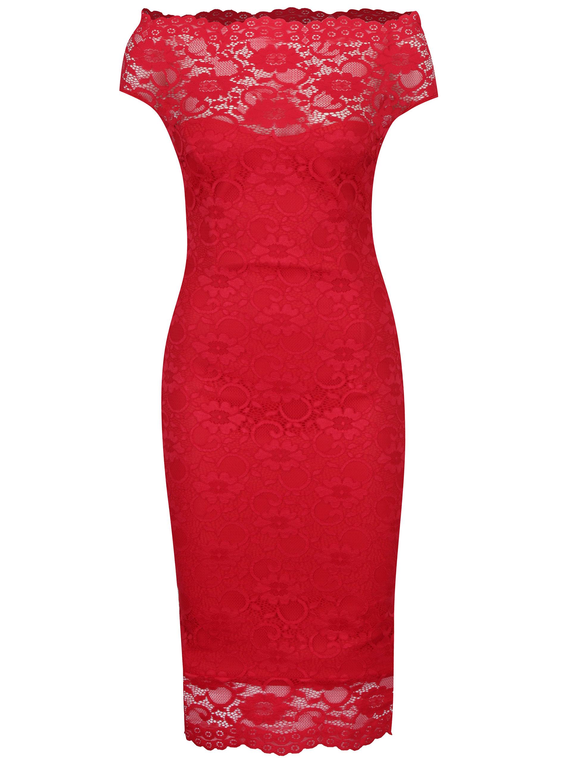 eedb9fcca353 Červené puzdrové čipkované šaty ZOOT ...