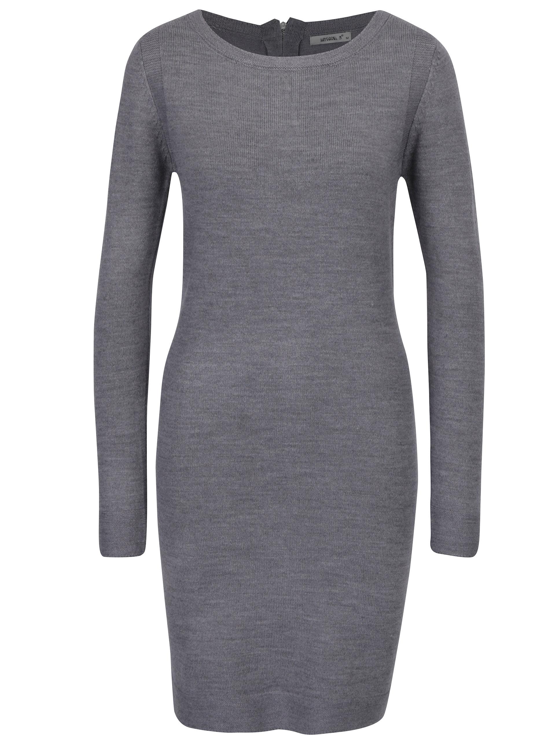 0301e476bf2 Šedé svetrové šaty s dlouhým rukávem Haily´s Naomi ...