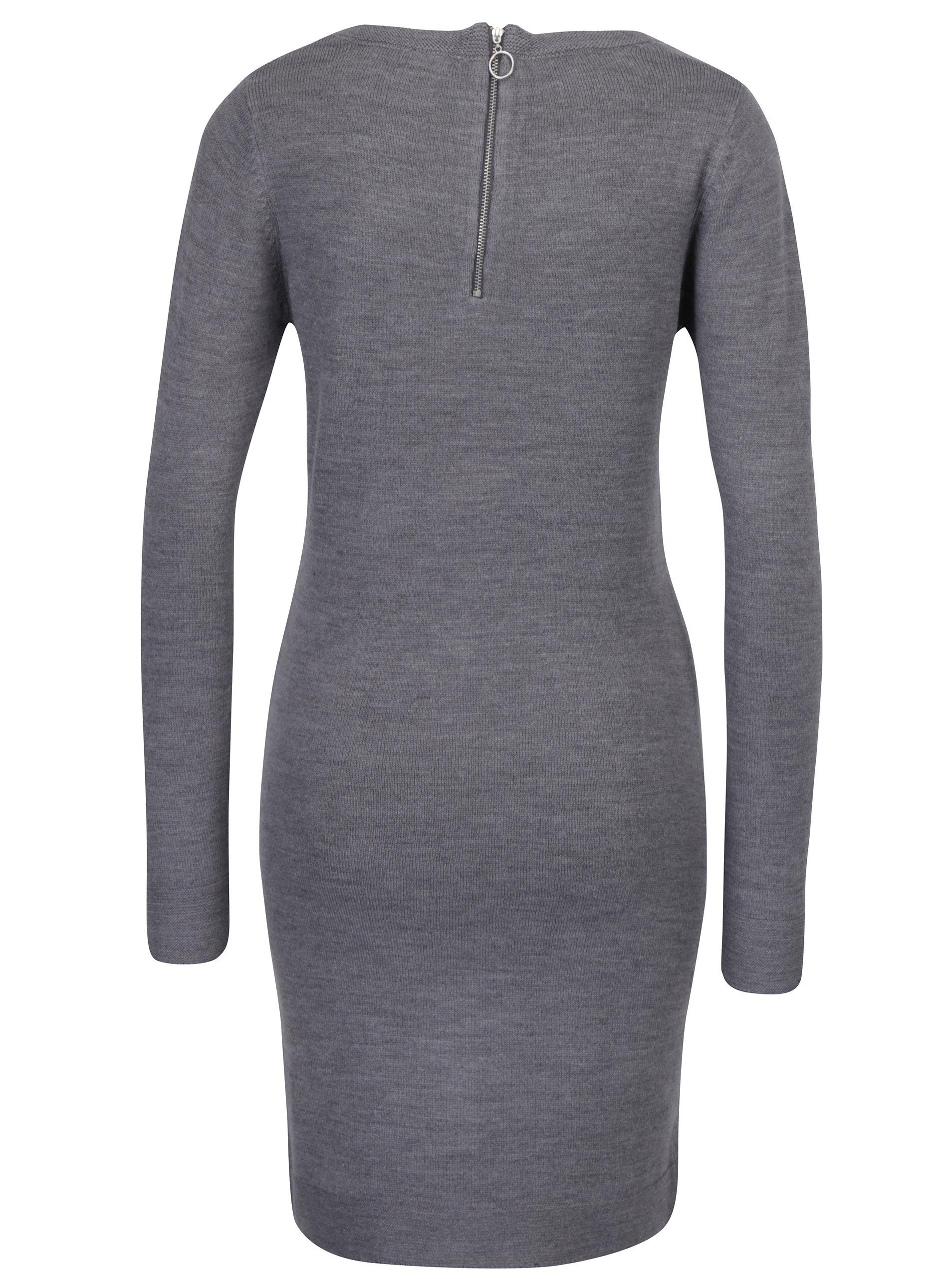 fccc5ab2b39b Sivé svetrové šaty s dlhým rukávom Haily s Naomi ...