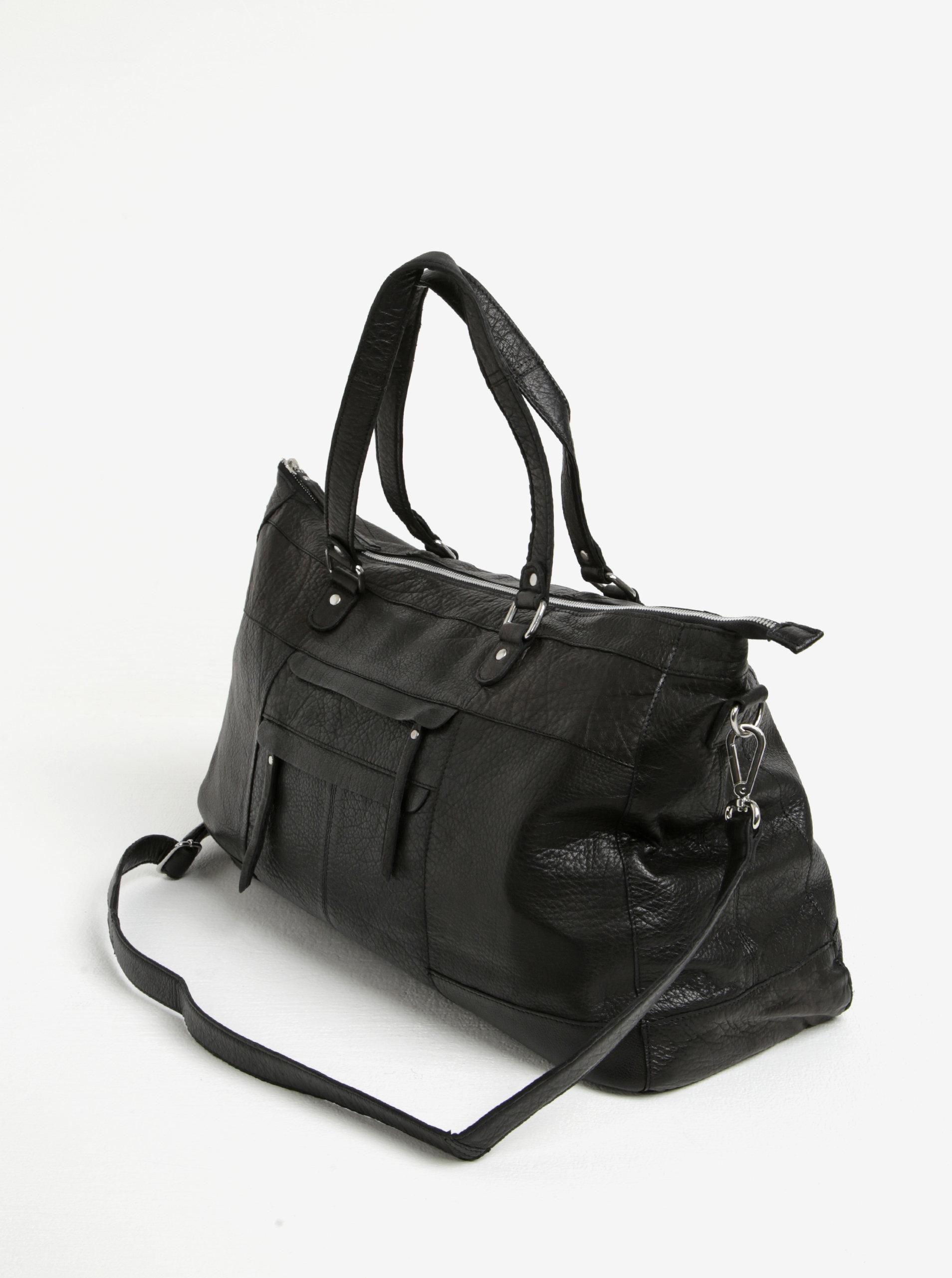 Čierna kožená kabelka Pieces Rihanna ... 664bb9bbfdd