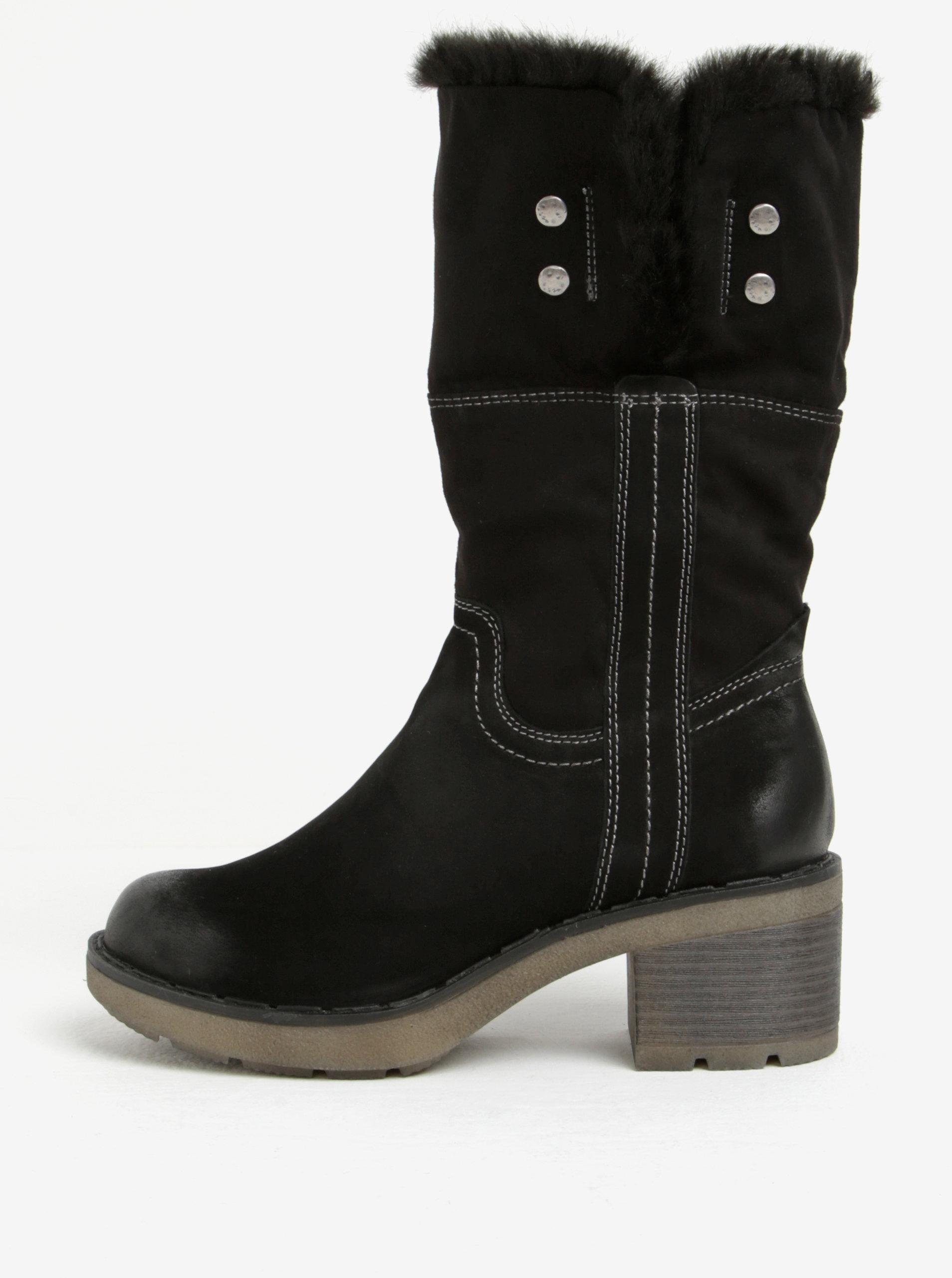 211fd9fba481 Černé kožené zimní boty Tamaris ...
