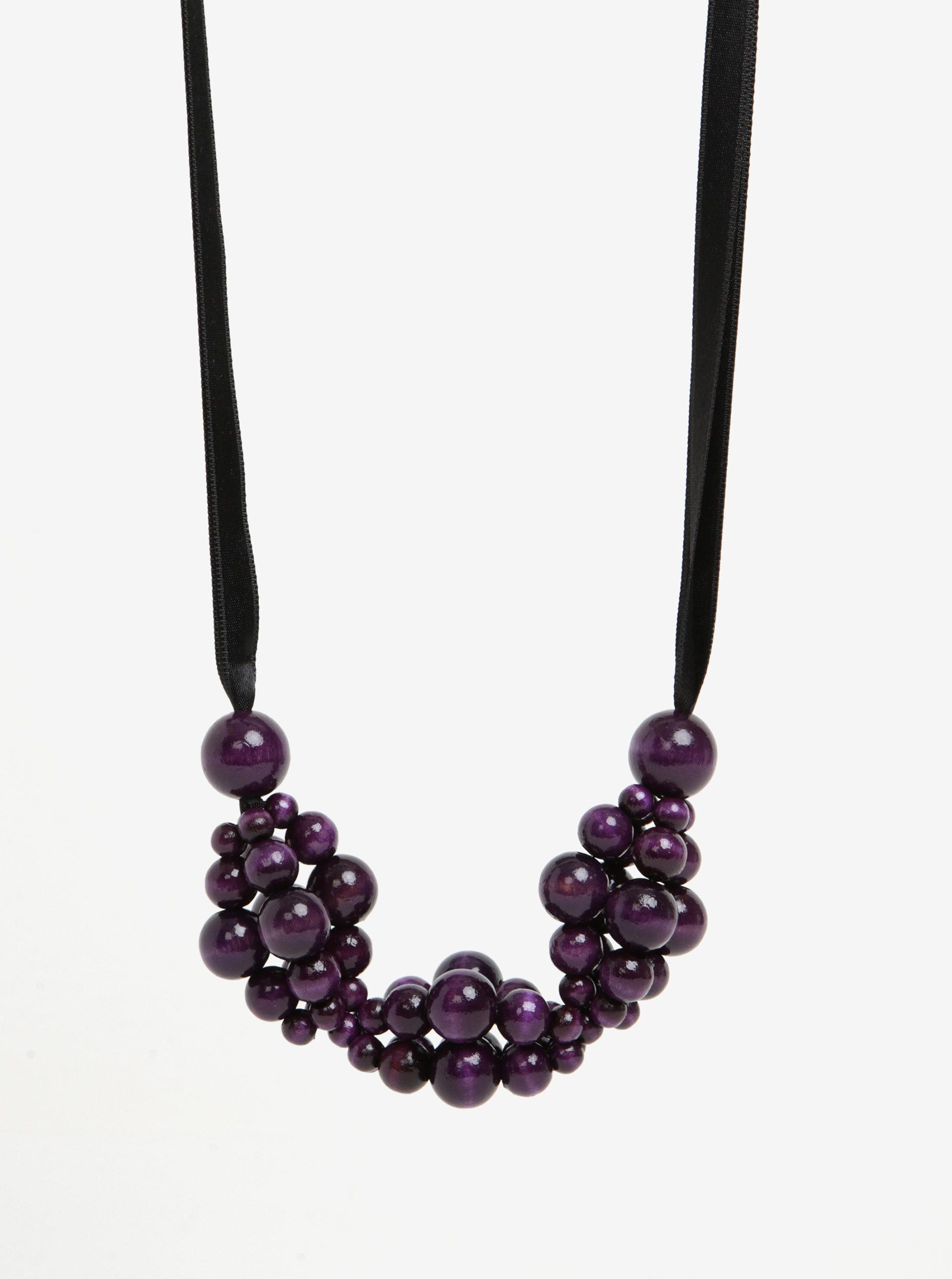 Černo-fialový dřevěný náhrdelník KO-RA-LE Wav