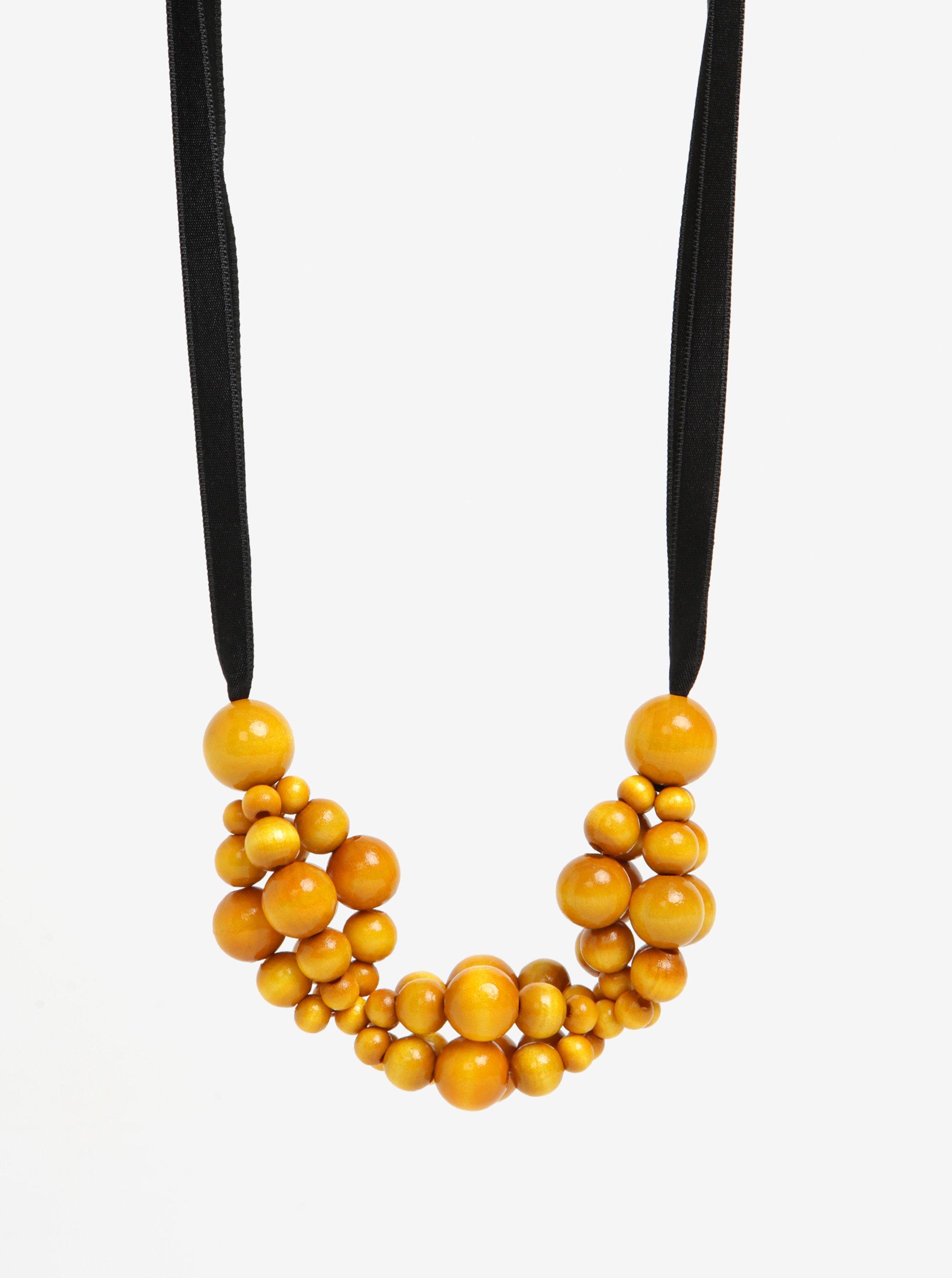 ab423a135 Čierno-žltý drevený náhrdelník KO-RA-LE Wav | ZOOT.sk