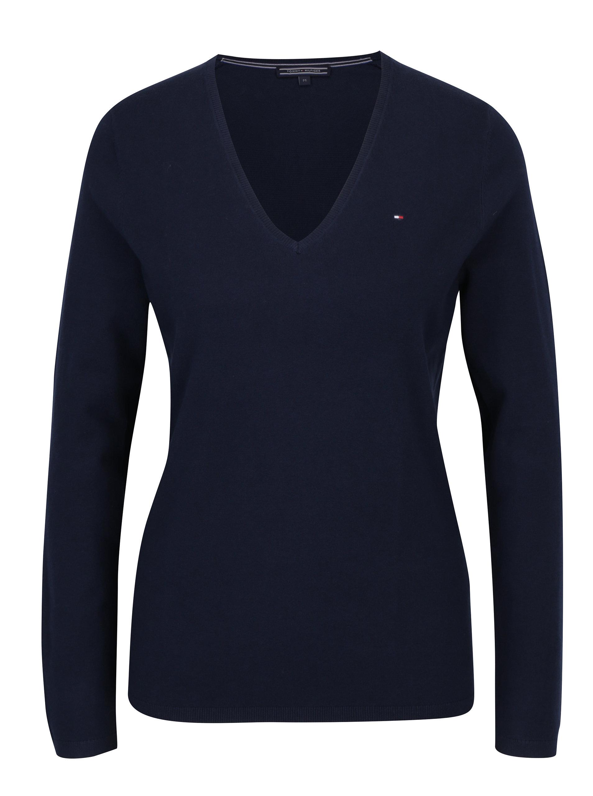 c5ea5701a78 Tmavě modrý dámský svetr s véčkovým výstřihem Tommy Hilfiger New Ivy ...