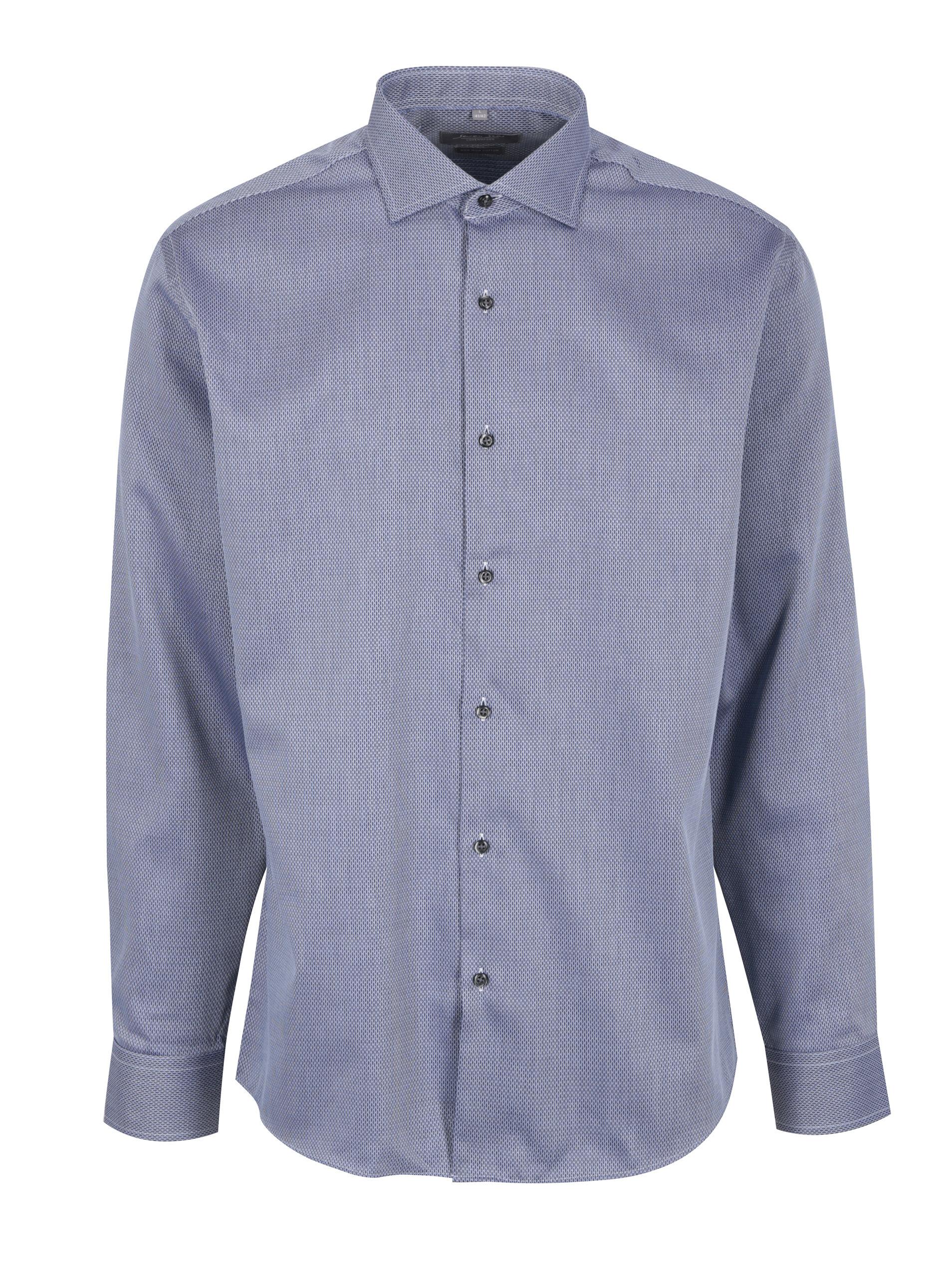 dd1c94f014cb Modrá pánska formálna košeľa s jemným vzorom Seven Seas Idaho Florid ...