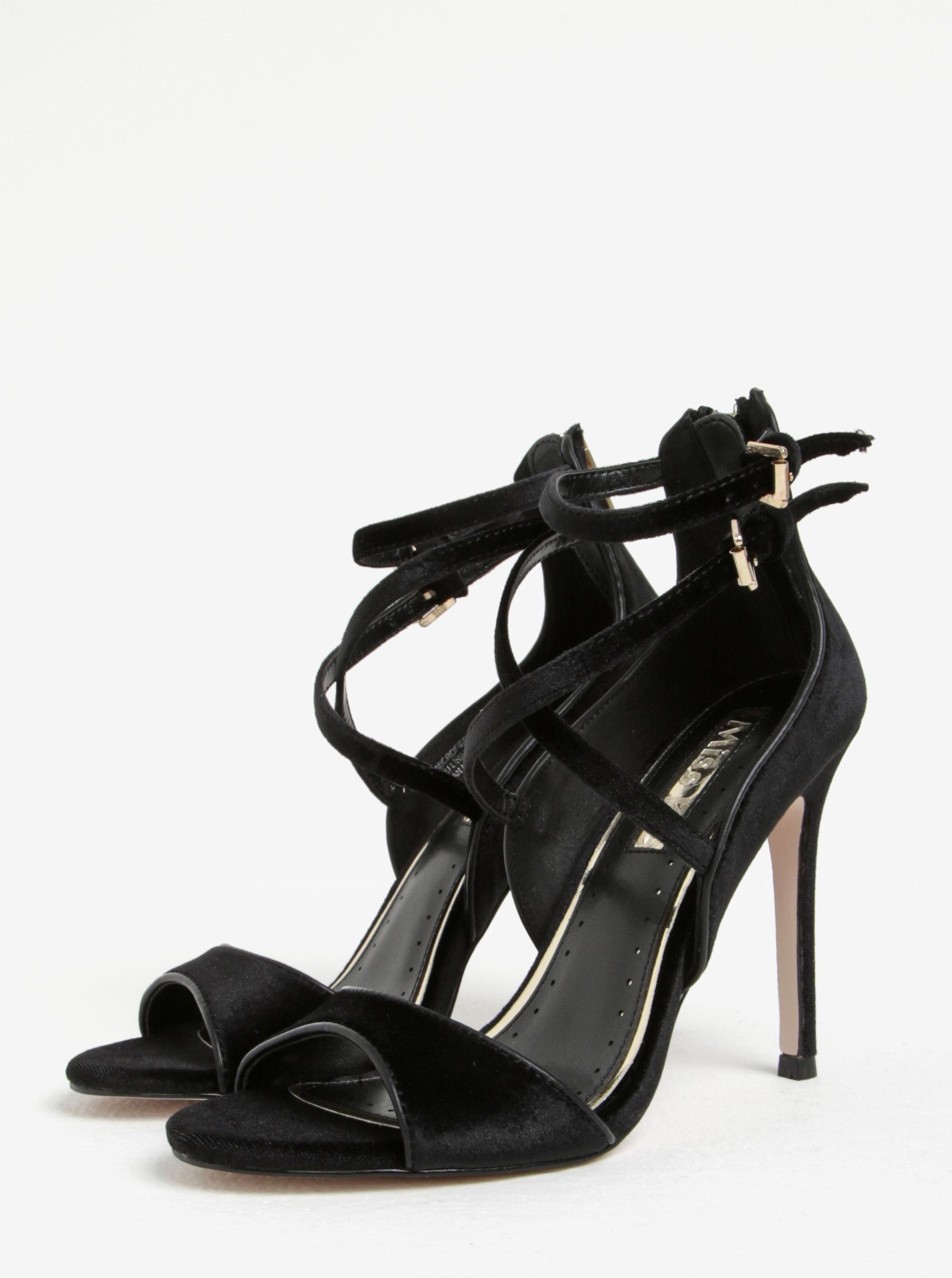 cad922e939bbc Čierne zamatové sandále na ihličkovom podpätku Miss KG Faleece | ZOOT.sk