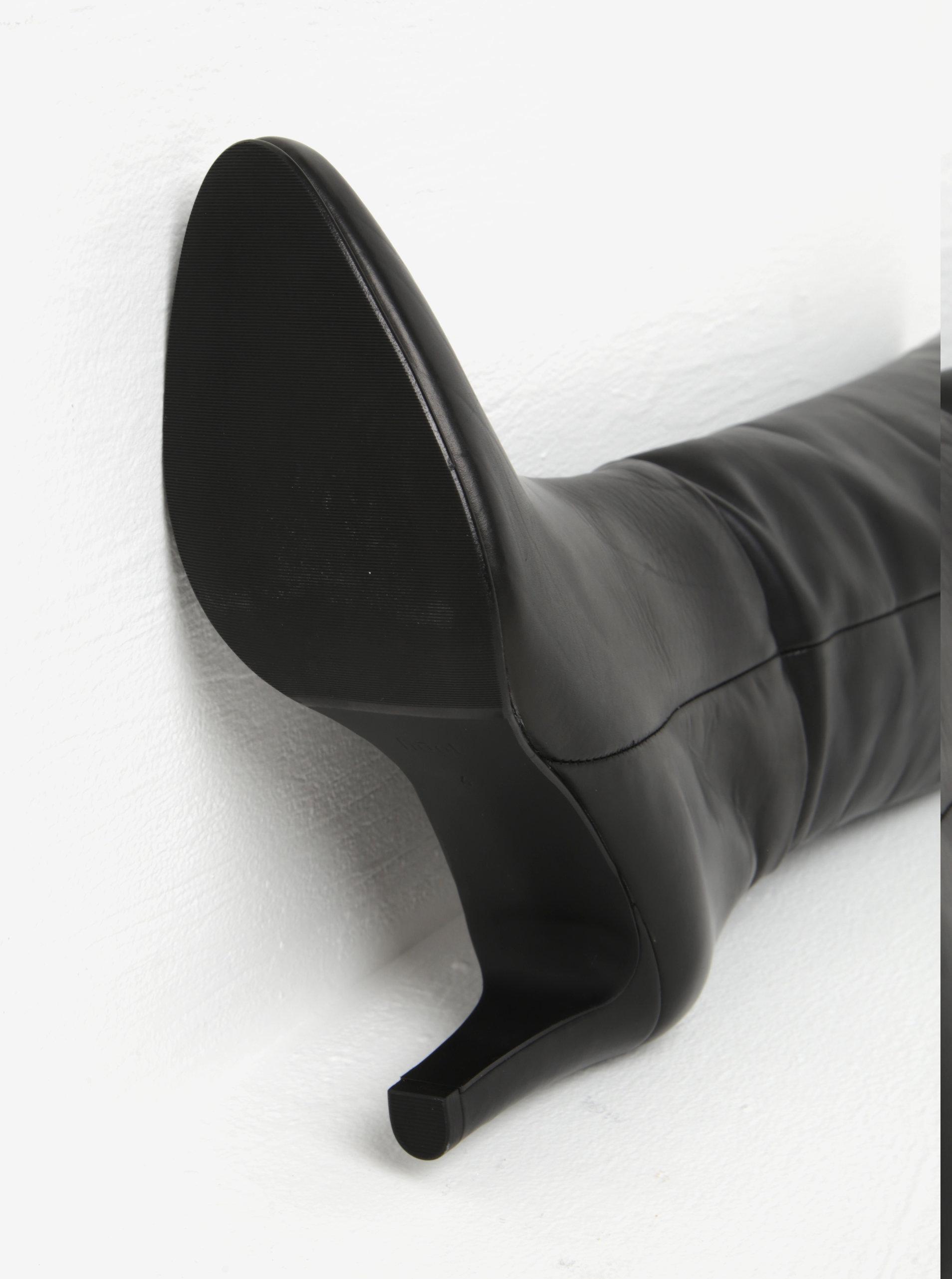 Čierne kožené čižmy na vysokom podpätku Högl ... d13cbd10448