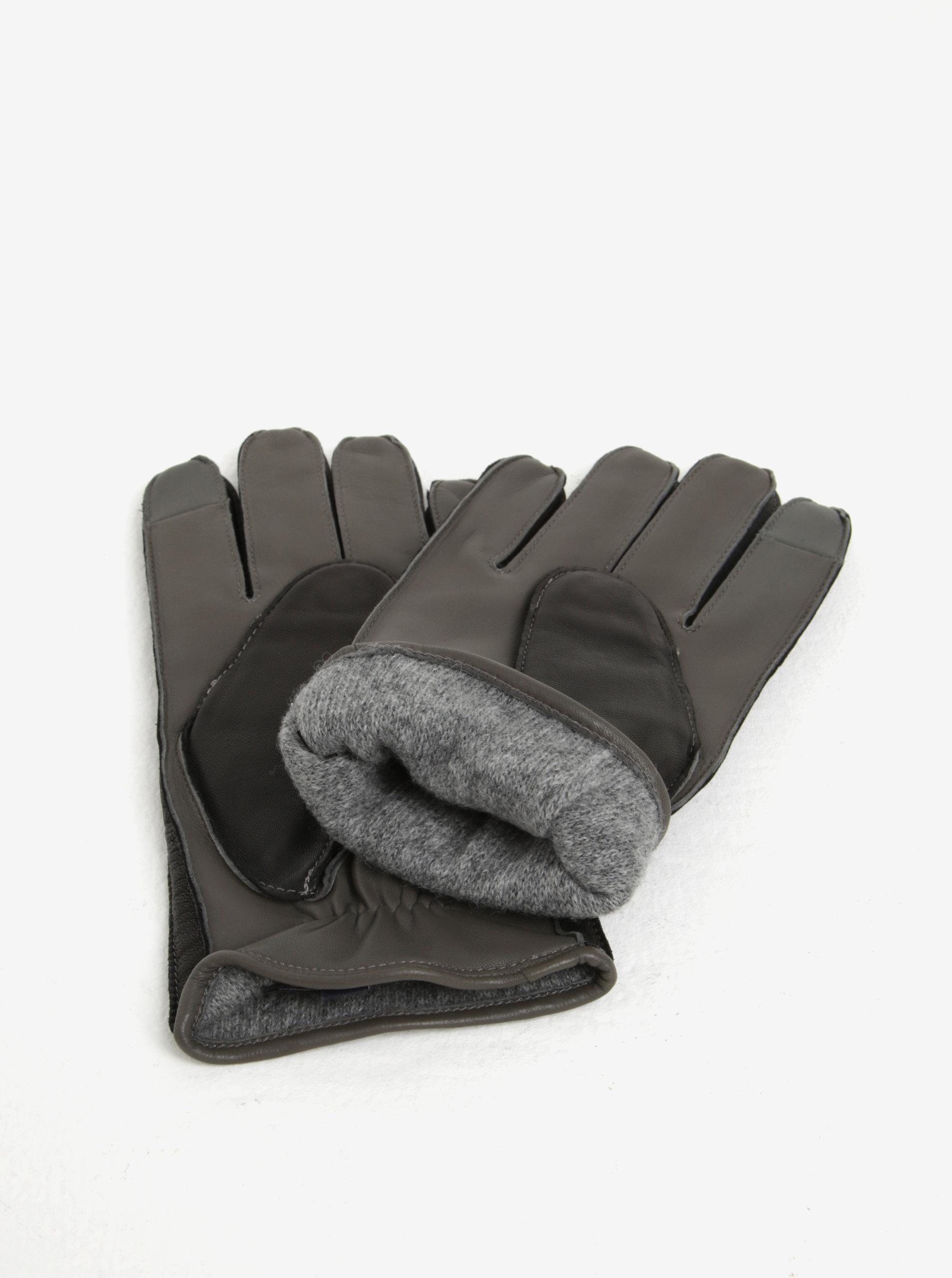 1e99d15672f Černé pánské kožené rukavice Tommy Hilfiger ...