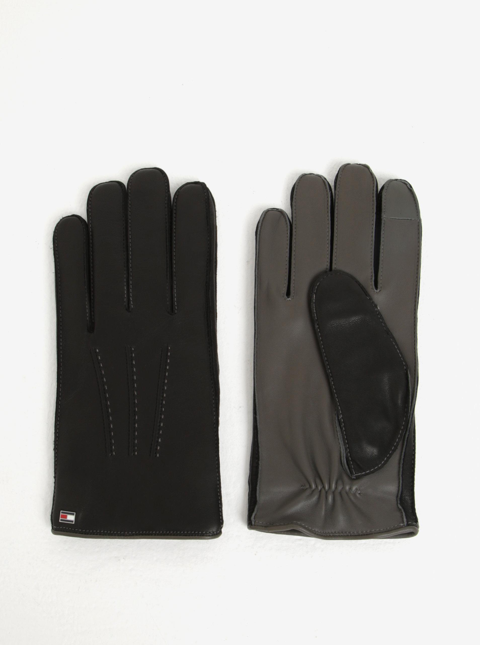 Čierne pánske kožené rukavice Tommy Hilfiger ... 3c4c17258c