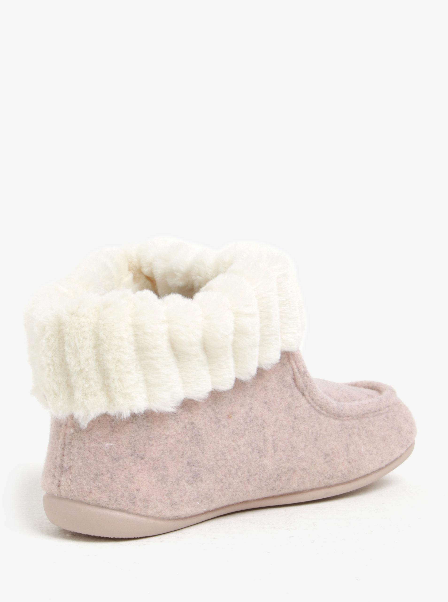 3deae08286747 Ružové dámske papuče s umelou kožušinou OJJU | ZOOT.sk