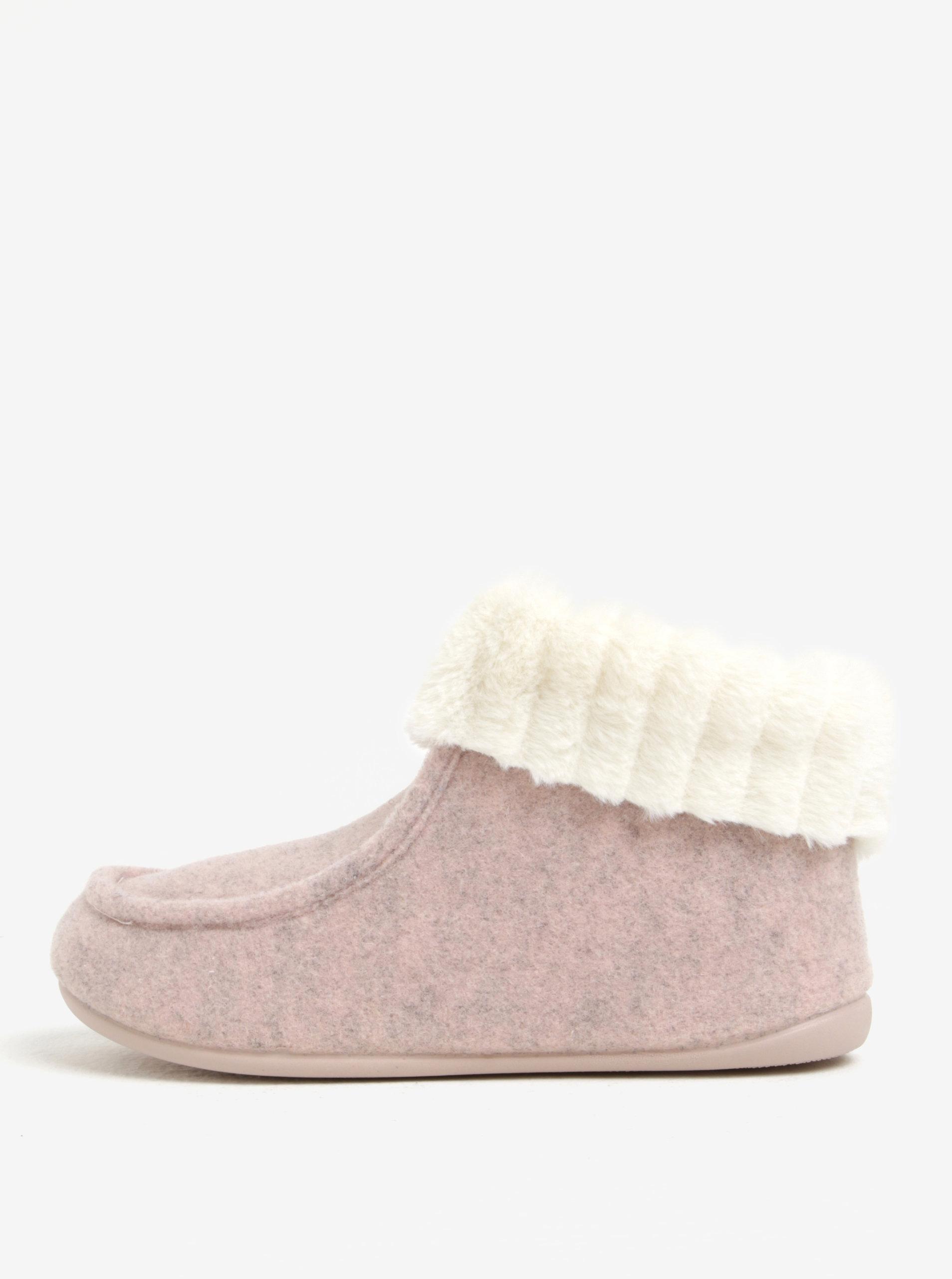 Růžové dámské papuče s umělou kožešinou OJJU