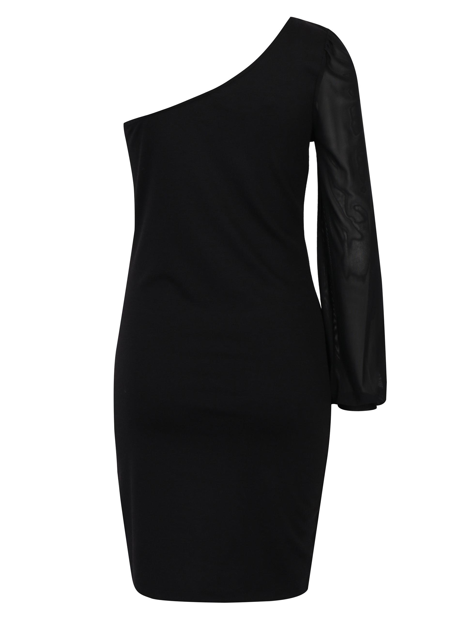 ffccbd76c2b1 Čierne asymetrické šaty s priesvitným rukávom ONLY Victoria ...