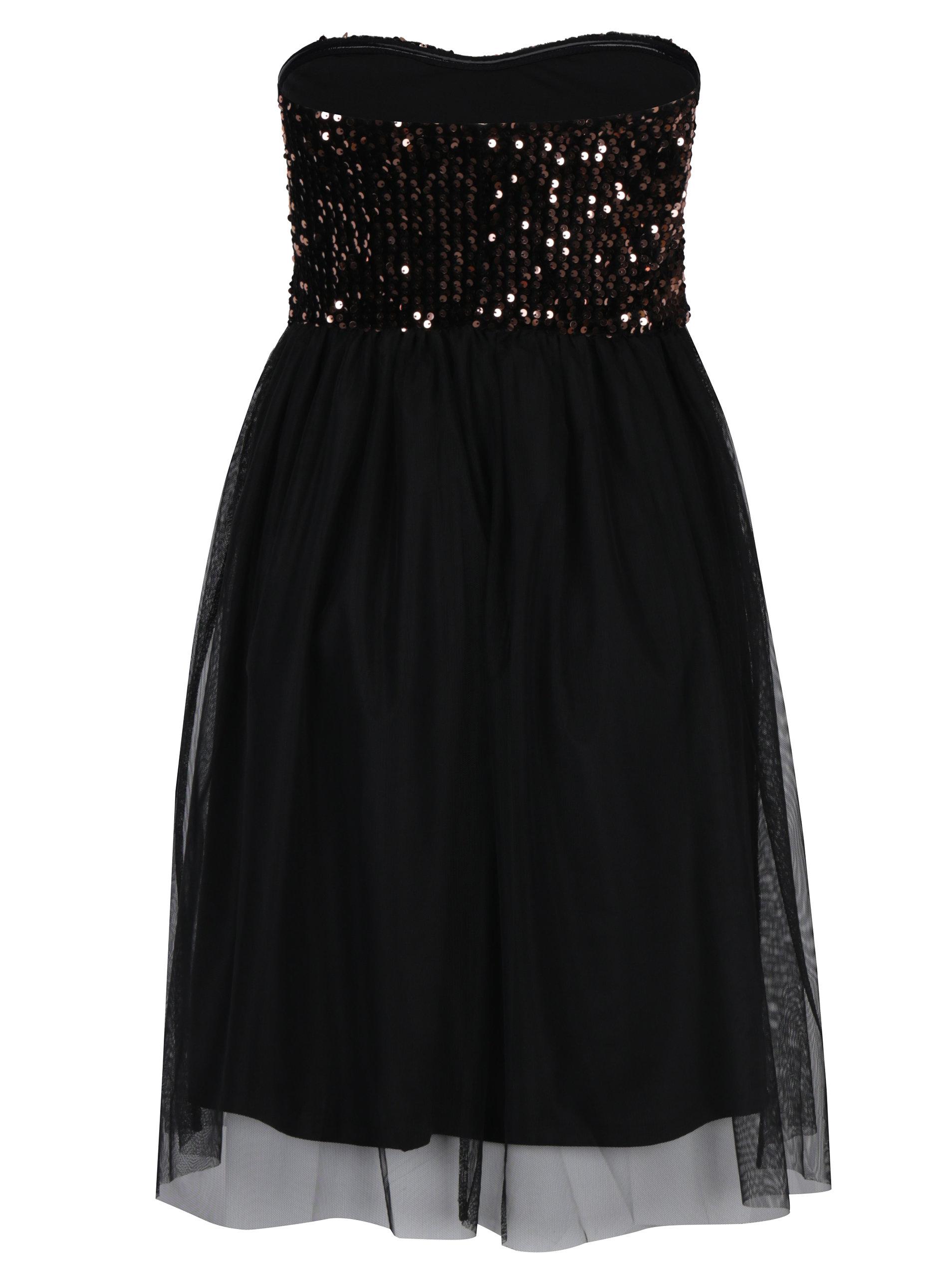 c74d95c8ee85 Čierne šaty bez ramienok s tylovou sukňou a flitrami v bronzovej farbe ONLY  Confidence ...
