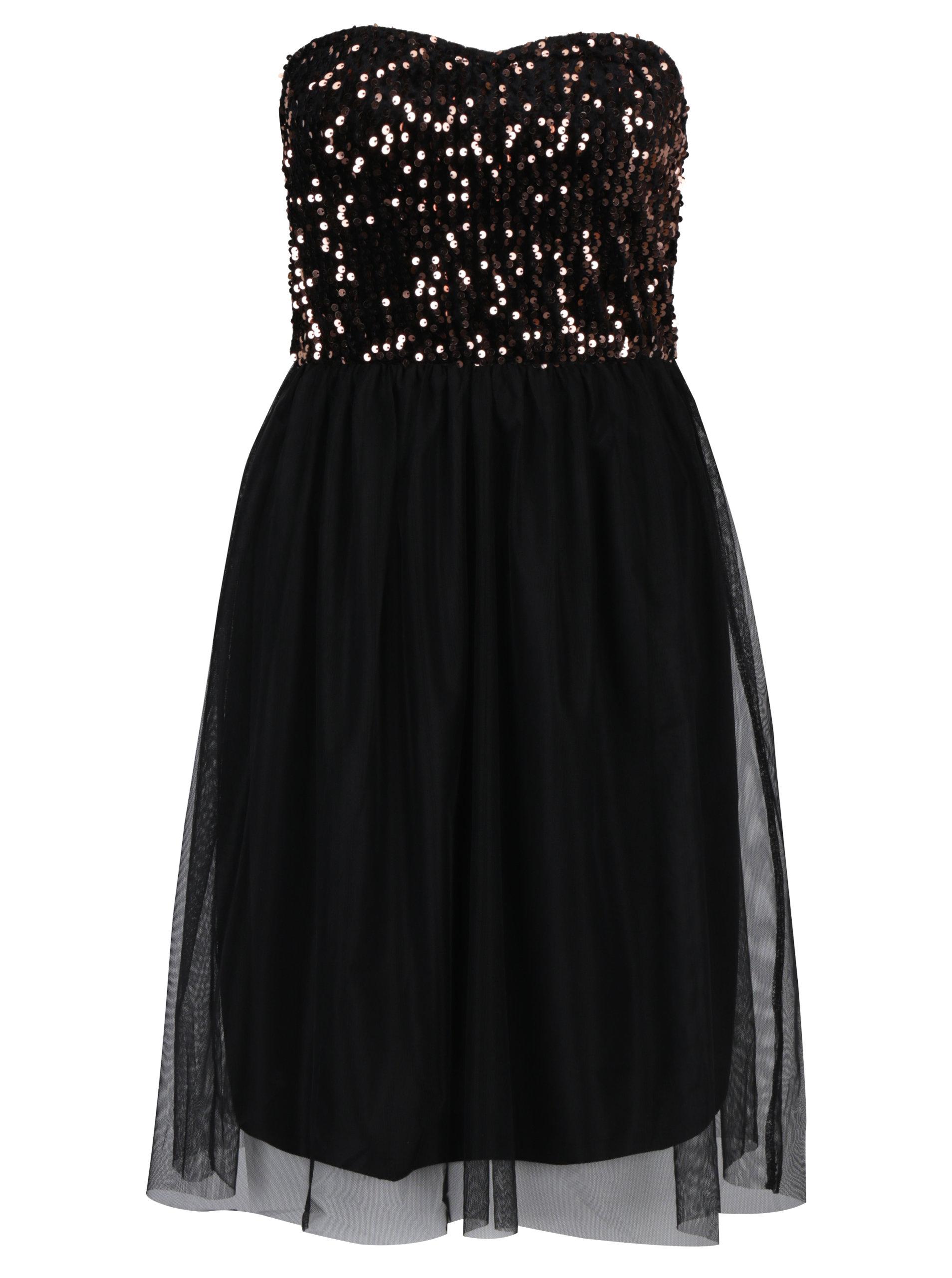 05b97632d357 Čierne šaty bez ramienok s tylovou sukňou a flitrami v bronzovej farbe ONLY  Confidence ...