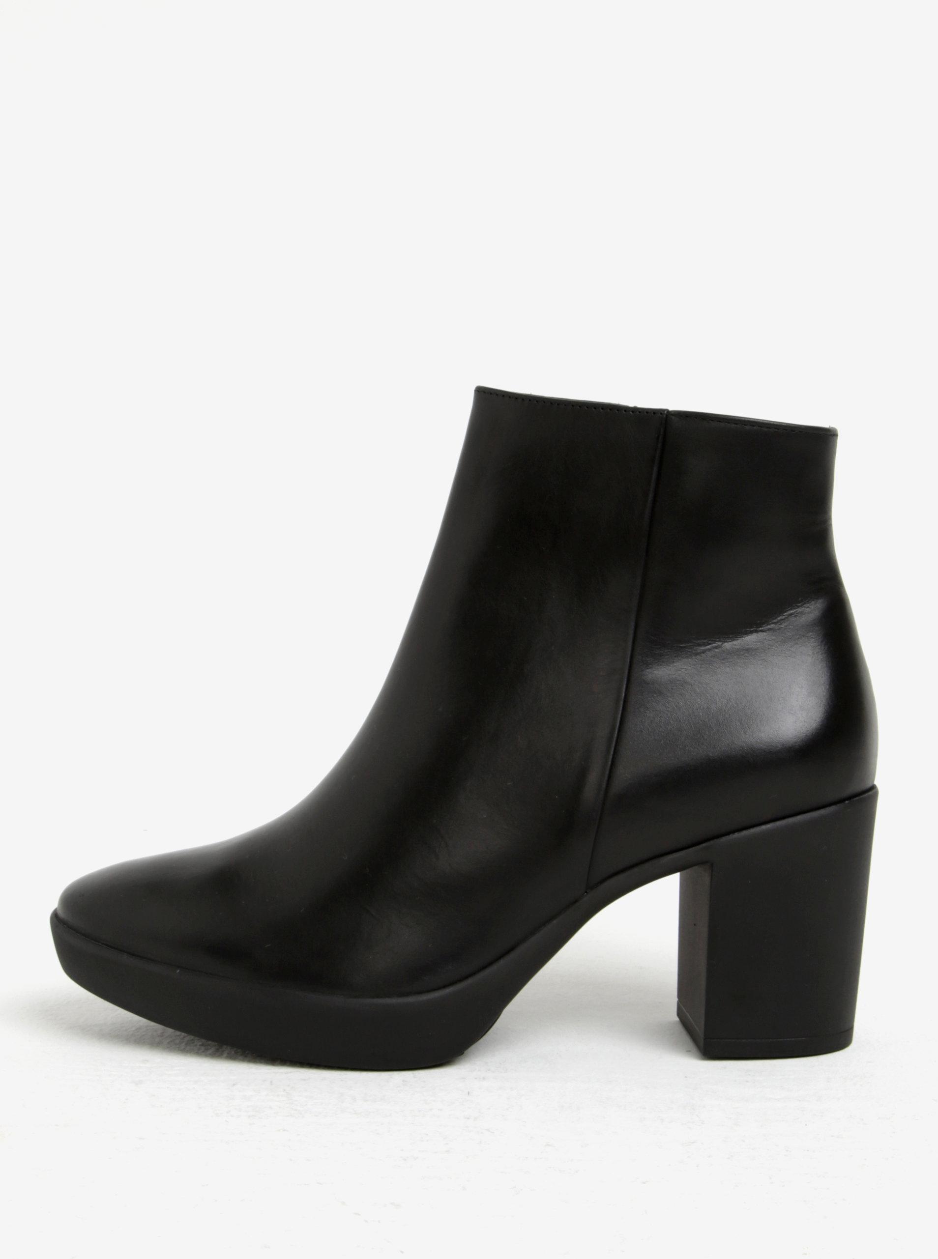 795f40c2e23f4 Čierne kožené členkové topánky na podpätku Högl ...