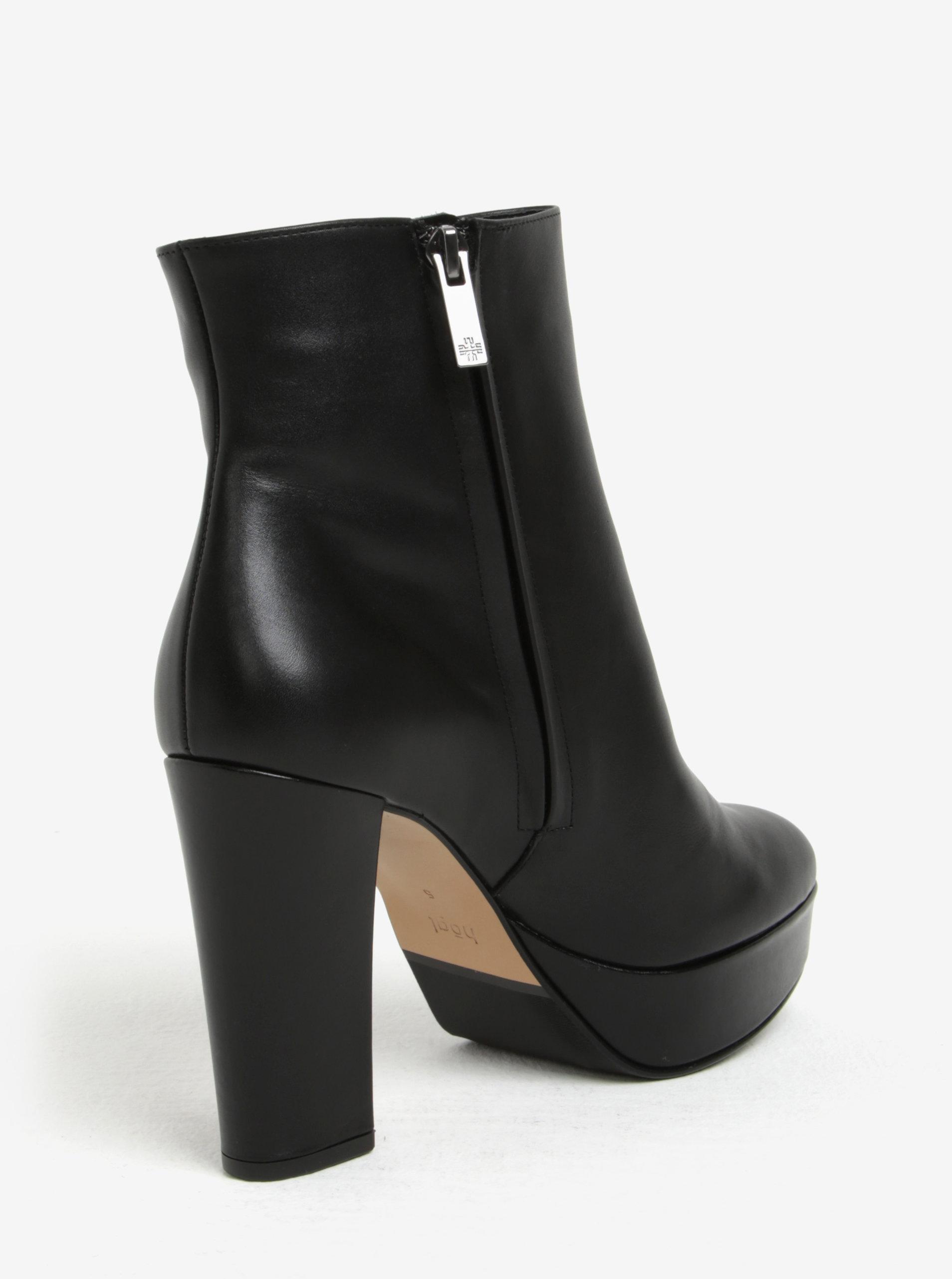 3aa1e0012c Čierne kožené dámske členkové topánky na platforme Högl ...