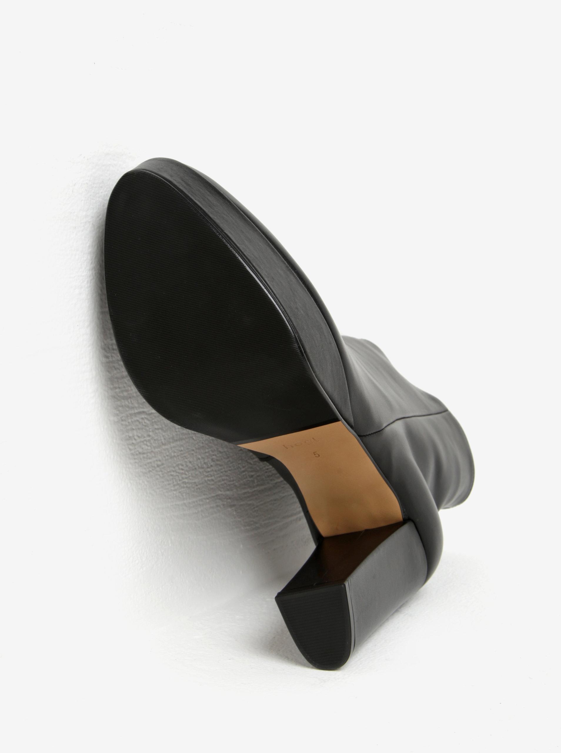 Čierne kožené dámske členkové topánky na platforme Högl ... f6db634ed96