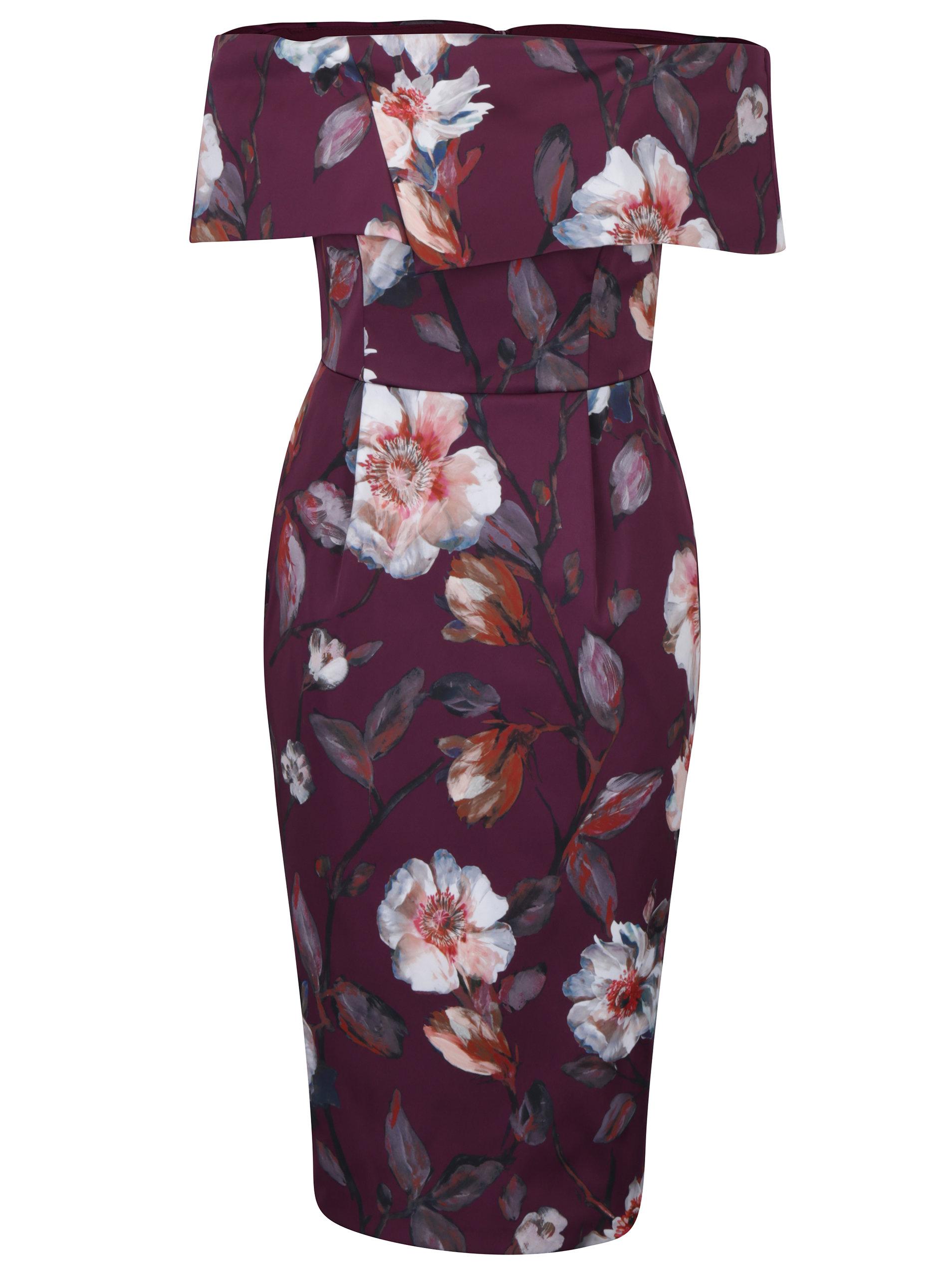 f4bd41fd38ab Vínové puzdrové šaty s odhalenými ramenami Dorothy Perkins ...