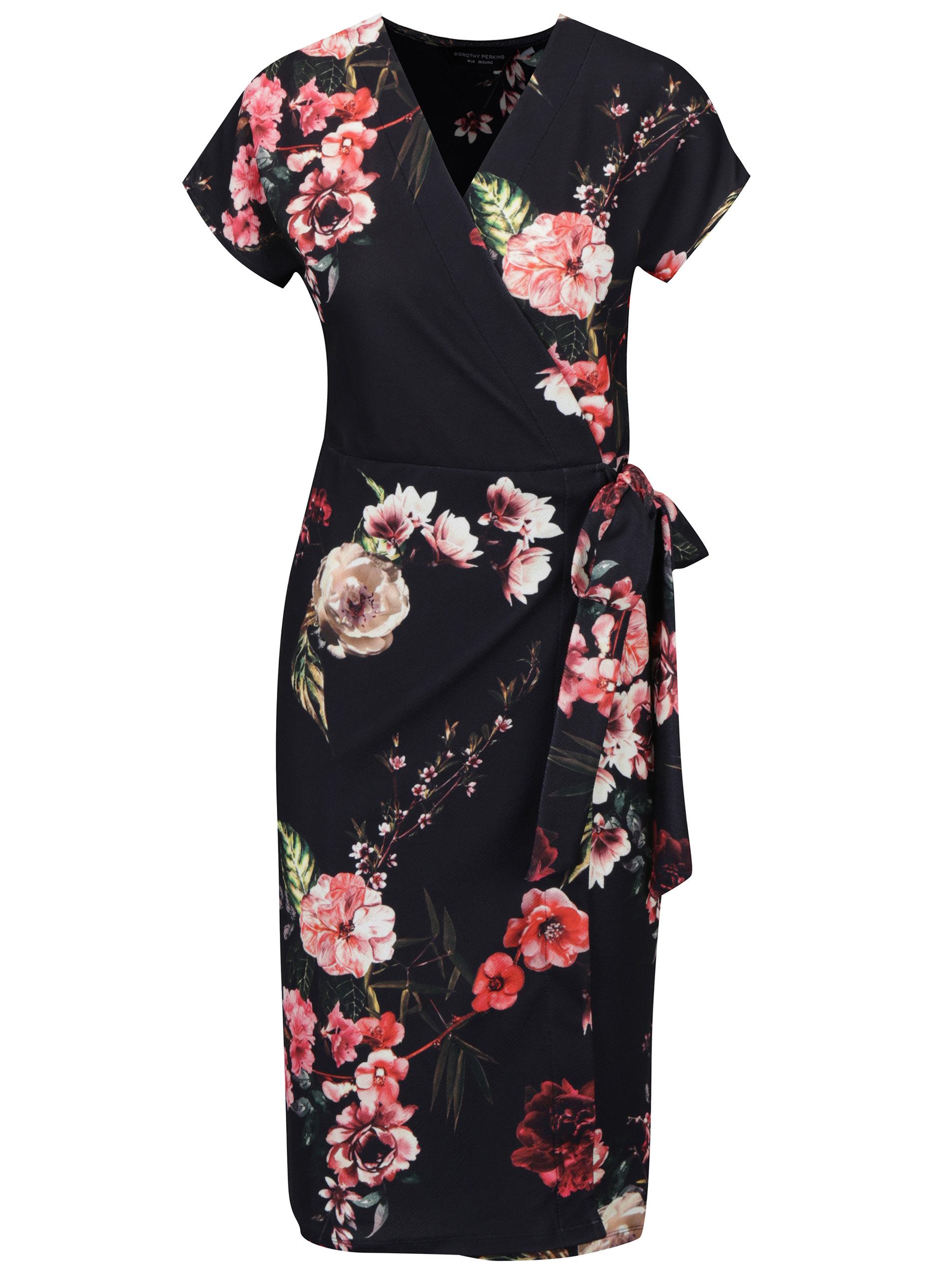 Černé květované zavinovací šaty Dorothy Perkins - Akční cena ... cd53c7d14e