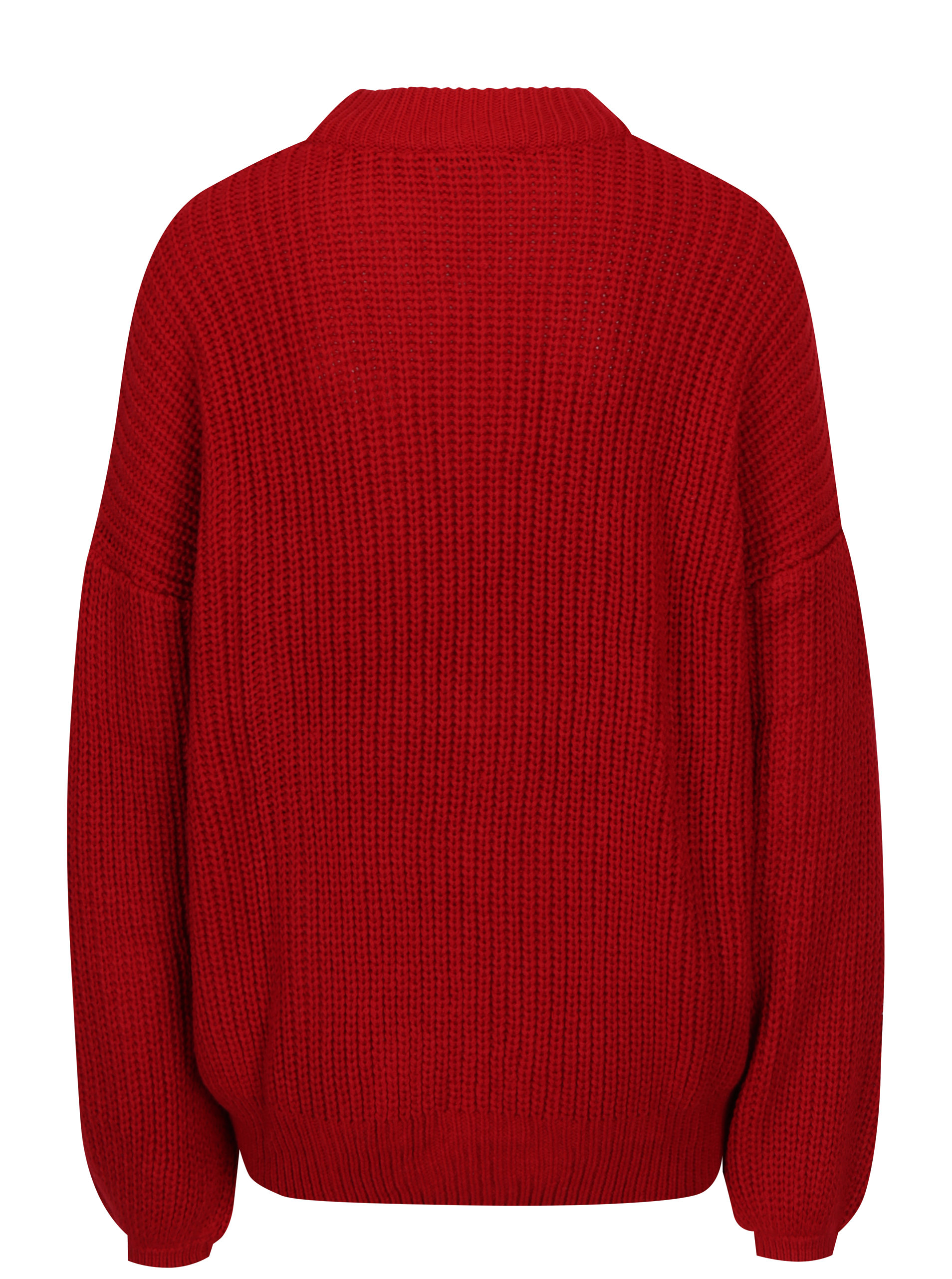 Červený svetr s balónovými rukávy TALLY WEiJL ... aa5975fc26